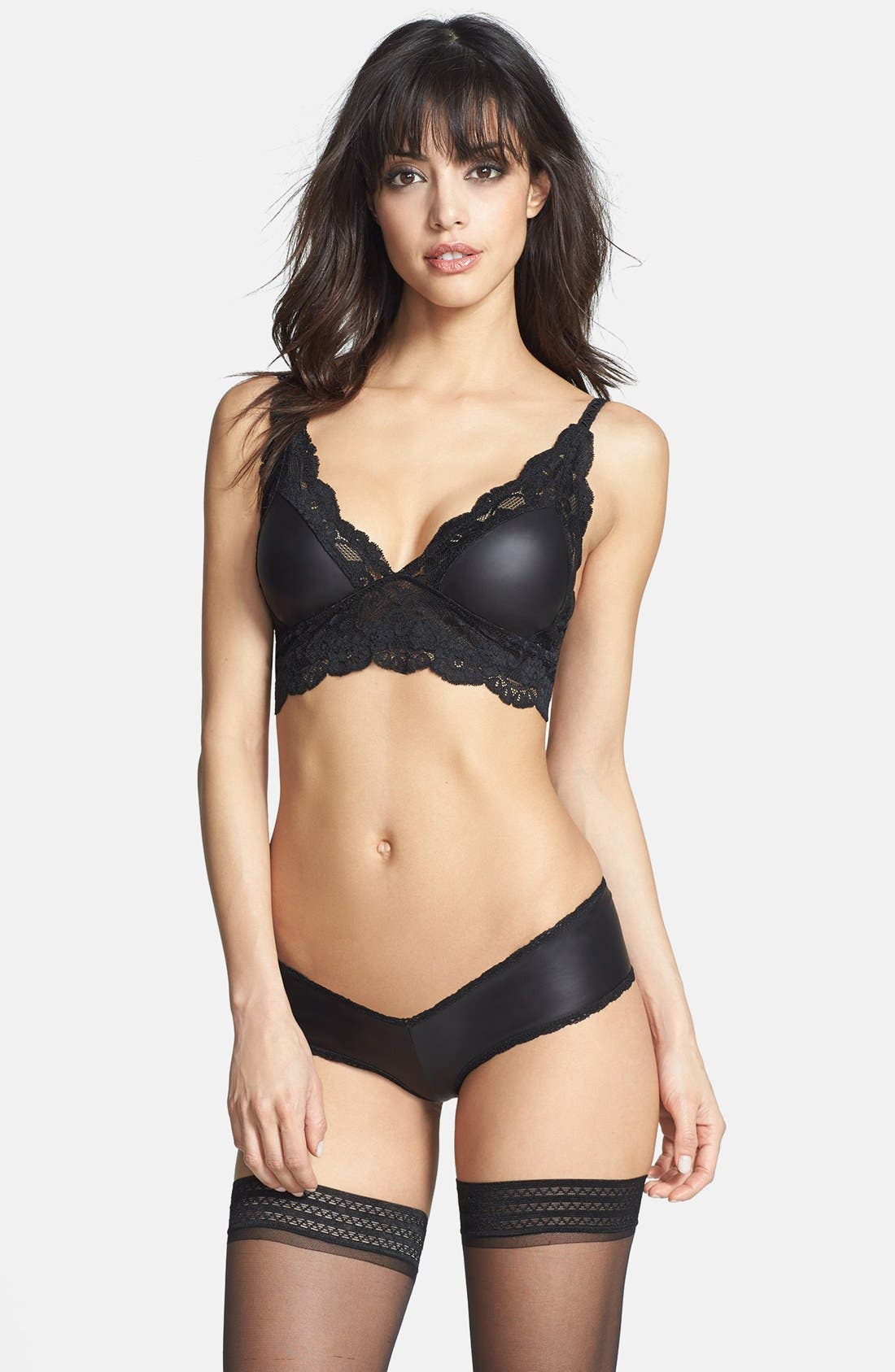 Alternate Image 3  - Les Coquines 'Jolie' Faux Leather & Lace Bralette