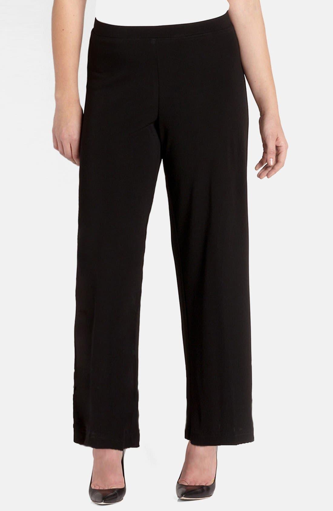Straight Leg Matte Jersey Pants,                         Main,                         color, Black