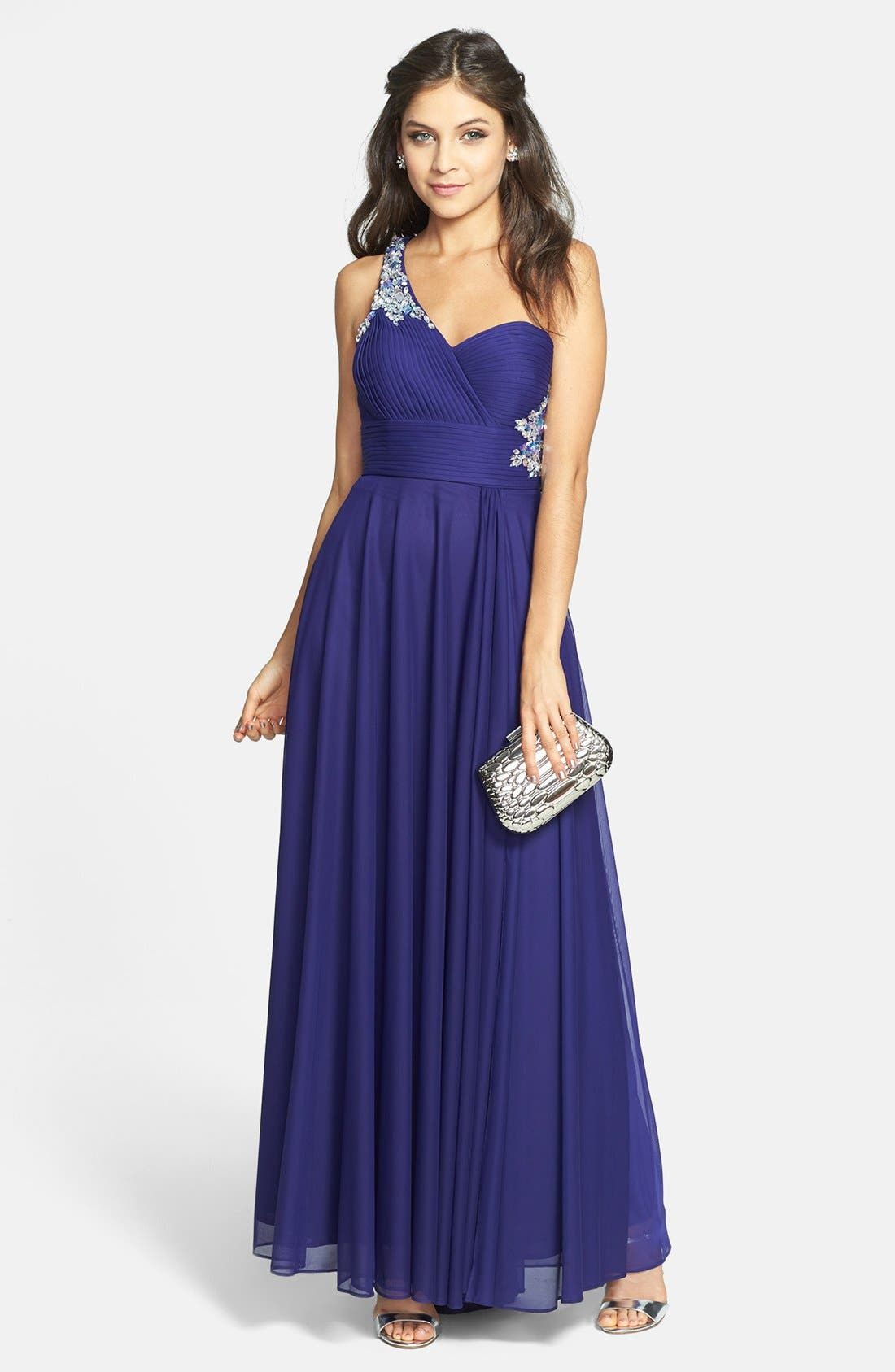 Main Image - Xscape Embellished One-Shoulder Jersey Gown