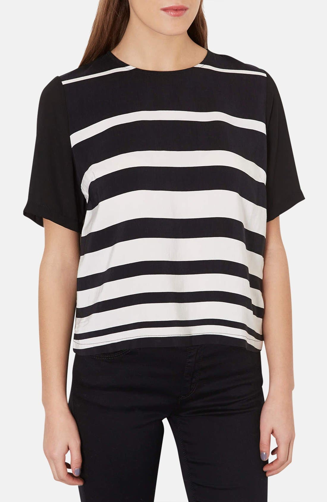 Alternate Image 1 Selected - Topshop Variegated Stripe Front Tee
