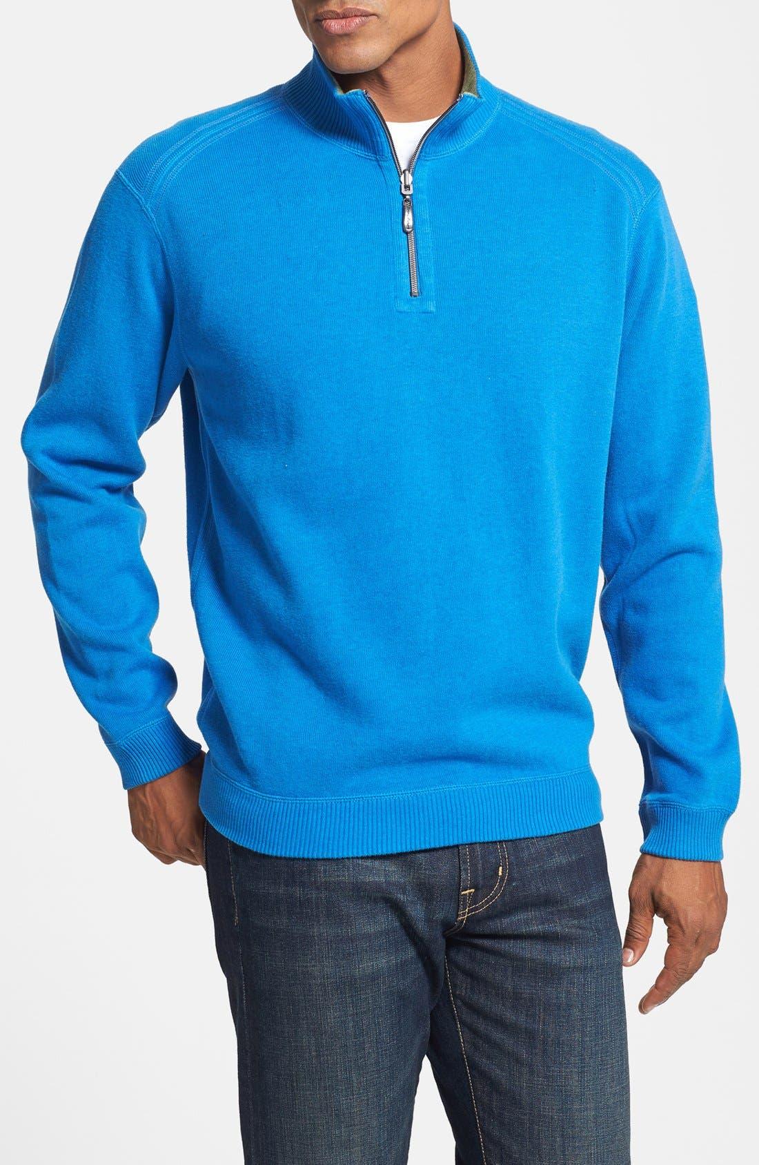 Main Image - Tommy Bahama 'Flip Side Pro' Reversible Half Zip Pullover