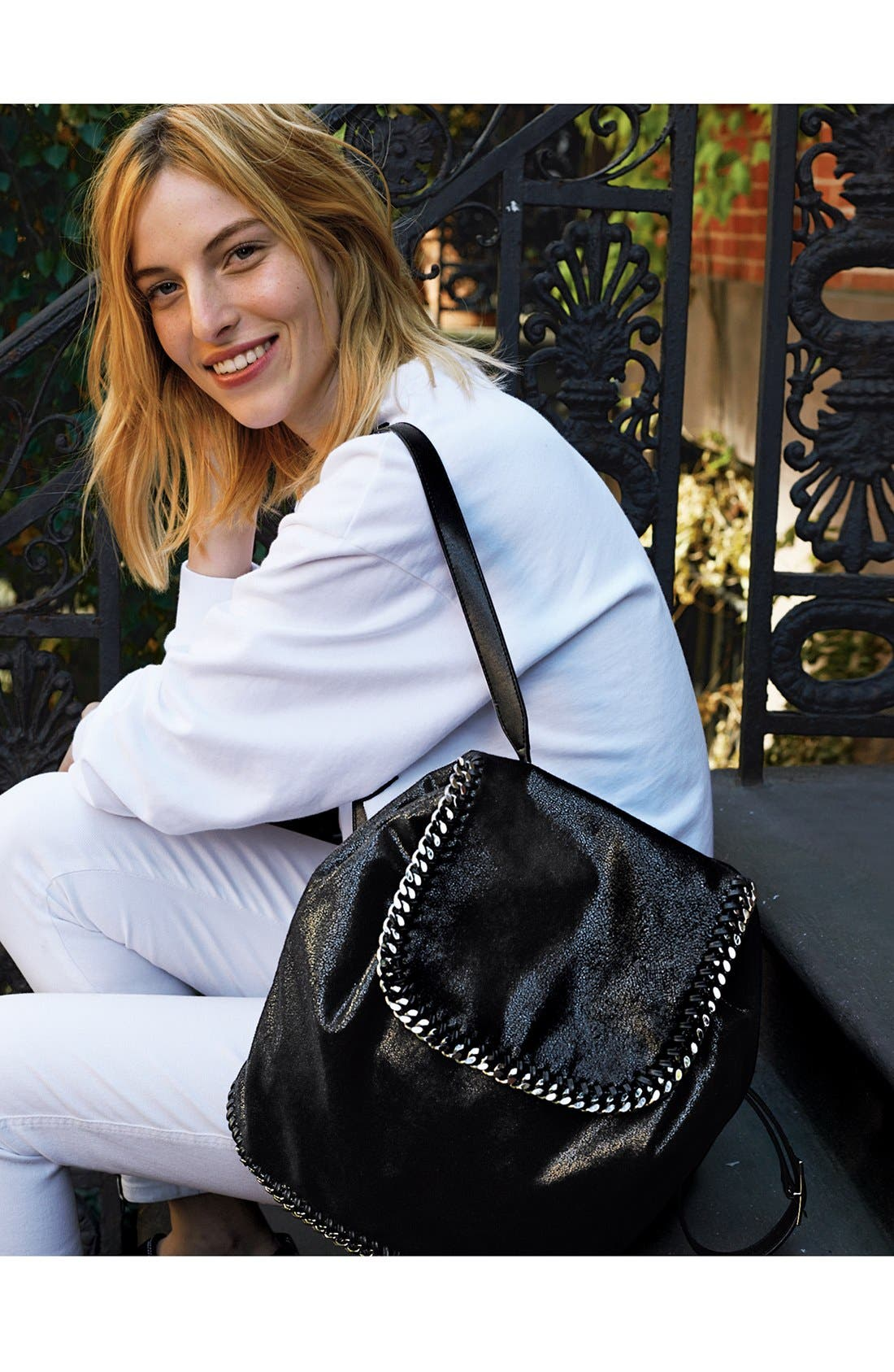 Main Image - Stella McCartney Faux Leather Backpack, Jeans & BLK Denim Sweatshirt