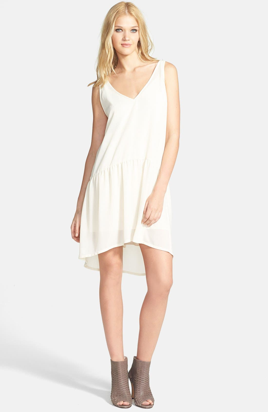 Main Image - Tildon V-Neck Drop Waist High/Low Dress