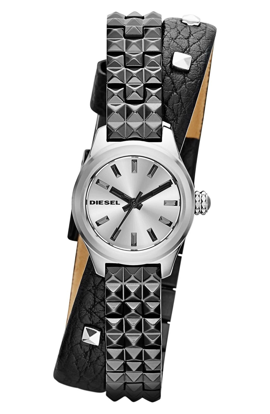 Alternate Image 1 Selected - DIESEL® Double Wrap Bracelet and Leather Strap Watch, 22mm
