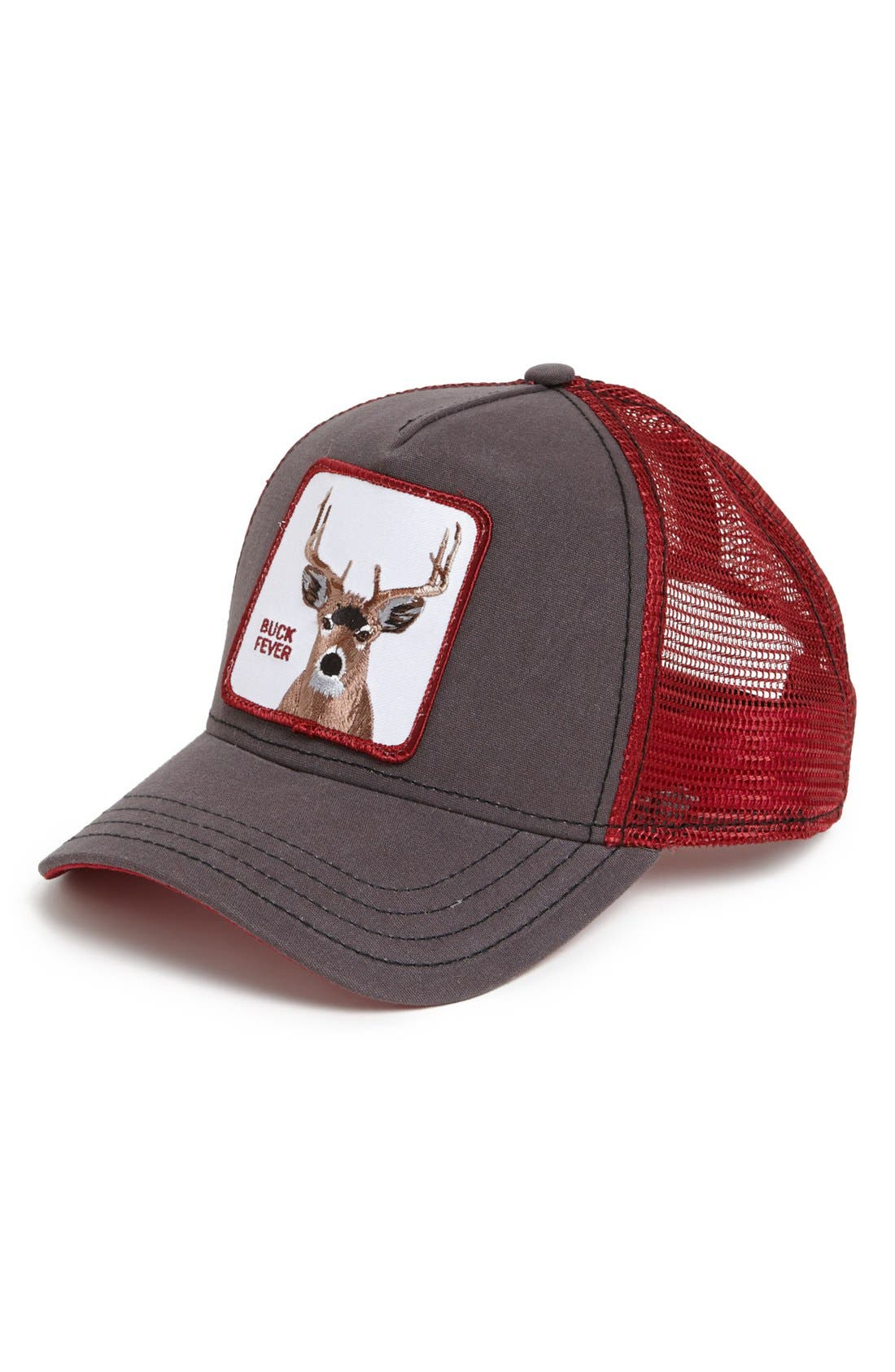 'Animal Farm - Buck Fever' Trucker Cap,                             Main thumbnail 1, color,                             Brown/ Red
