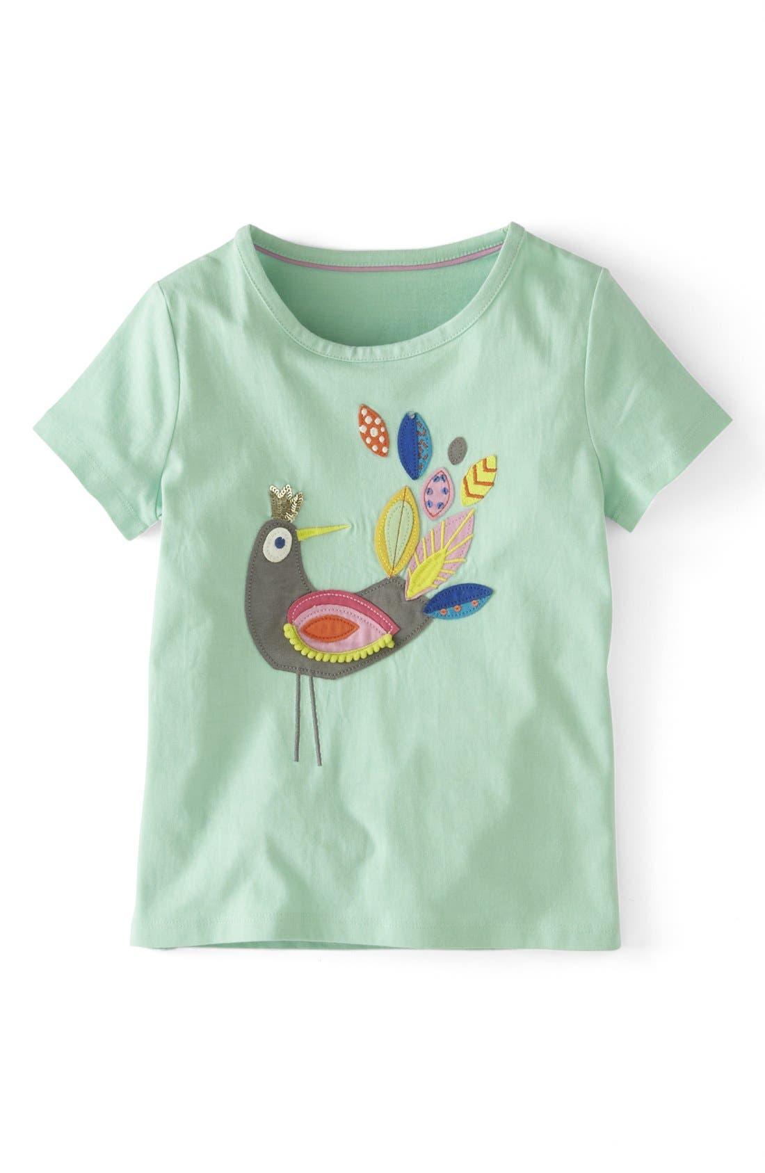 Main Image - Mini Boden Pompom Appliqué Tee (Toddler Girls, Little Girls & Big Girls)
