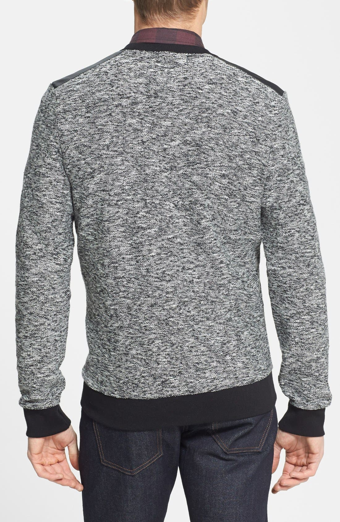 Alternate Image 2  - Topman Crewneck Sweatshirt with Faux Leather Shoulder Trim