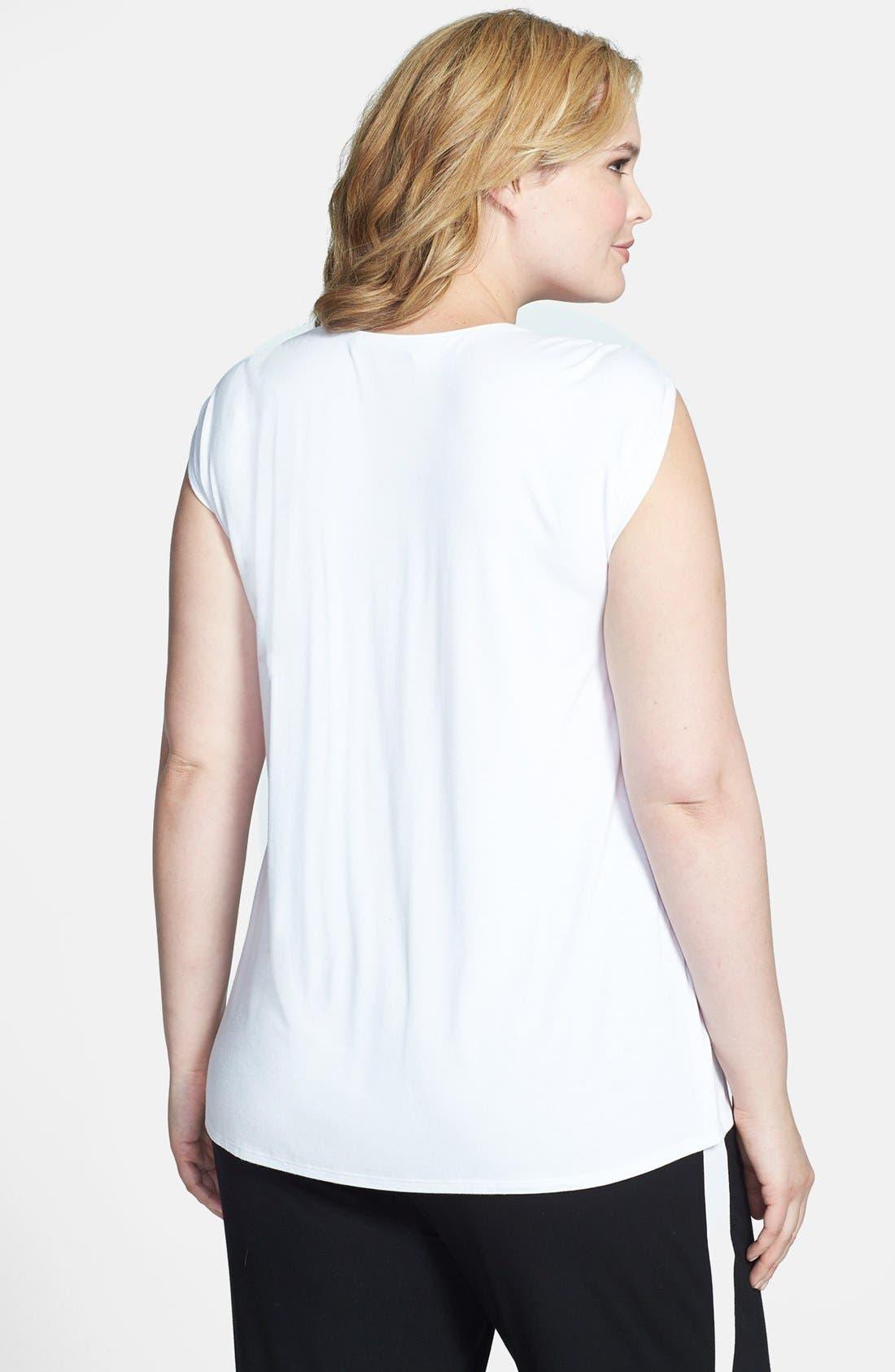 Alternate Image 2  - Sejour Cap Sleeve Knit Top (Plus Size)