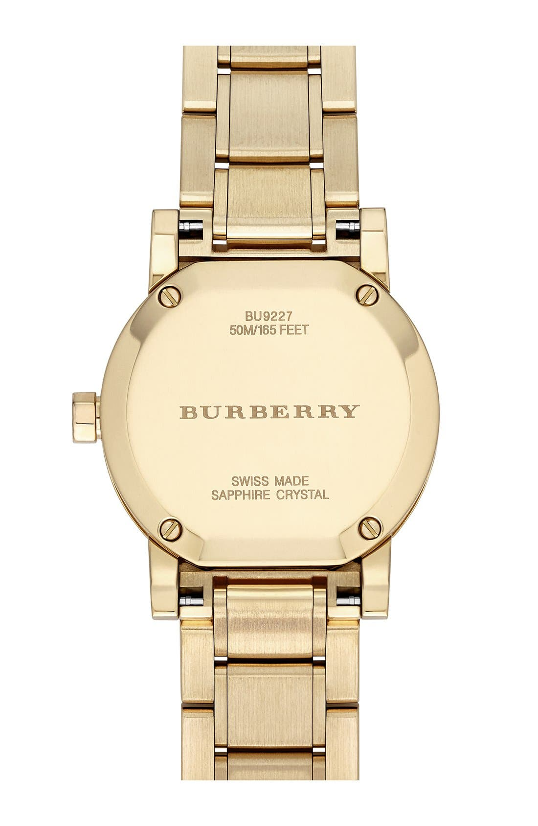 Alternate Image 3  - Burberry Check Stamped Round Bracelet Watch, 26mm