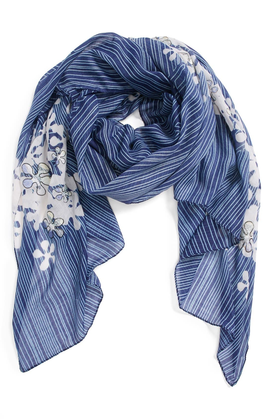 Main Image - Leith Stripe Floral Scarf