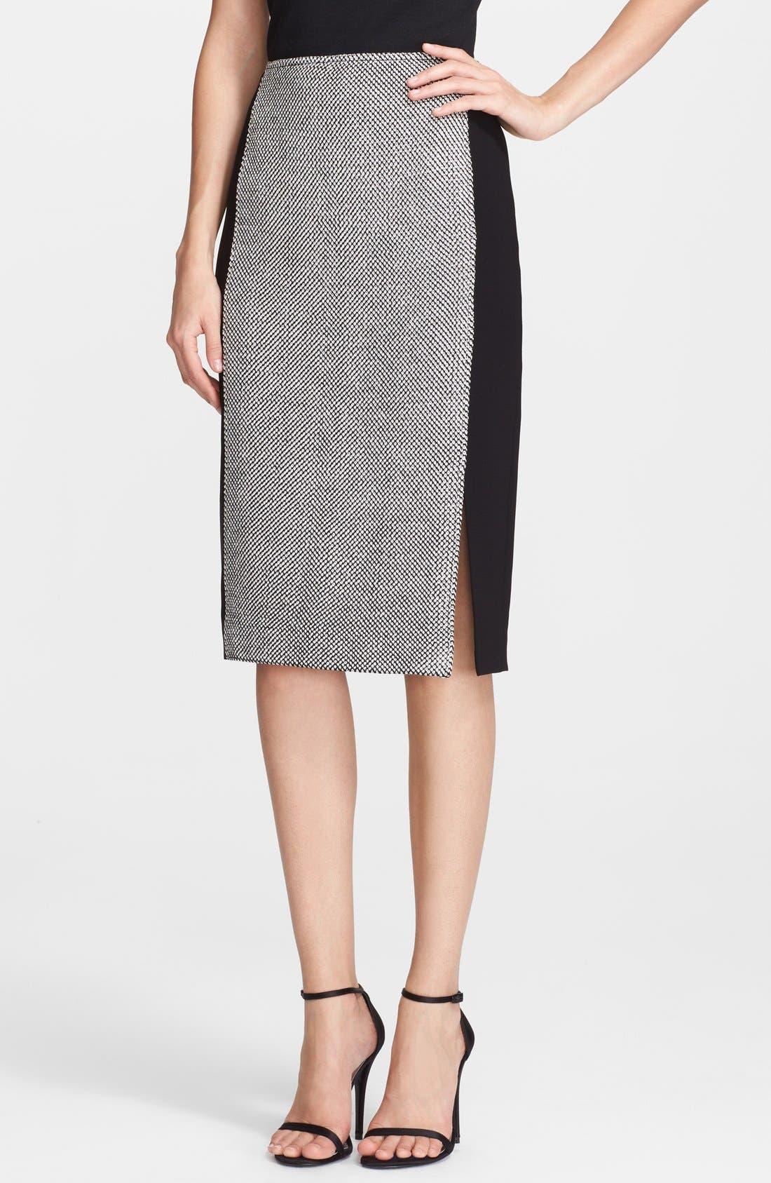 Alternate Image 1 Selected - St. John Collection Bird's Eye Tweed & Crepe Marocain Skirt