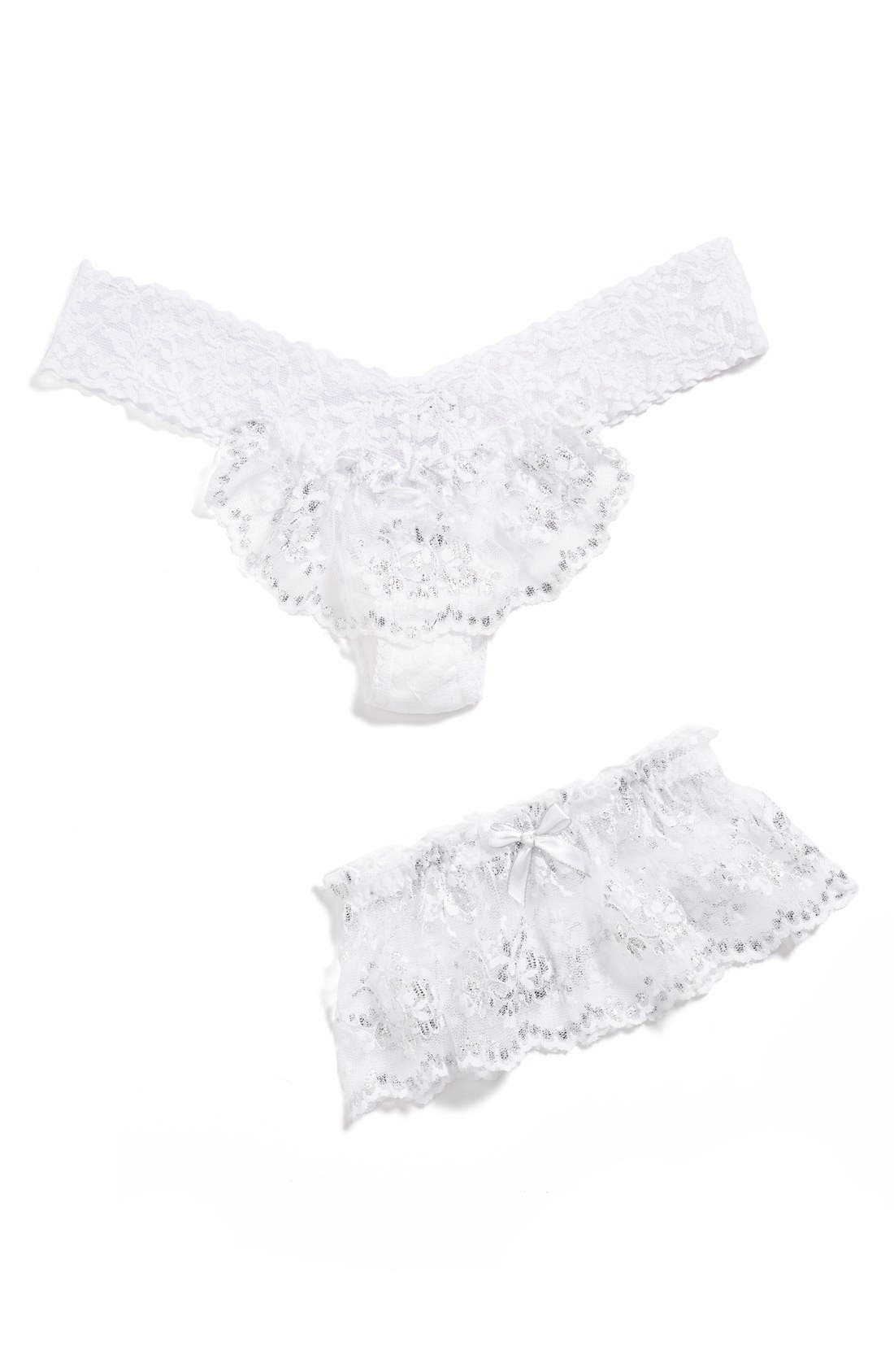 Alternate Image 2  - Hanky Panky Sterling Lace Thong & Garter