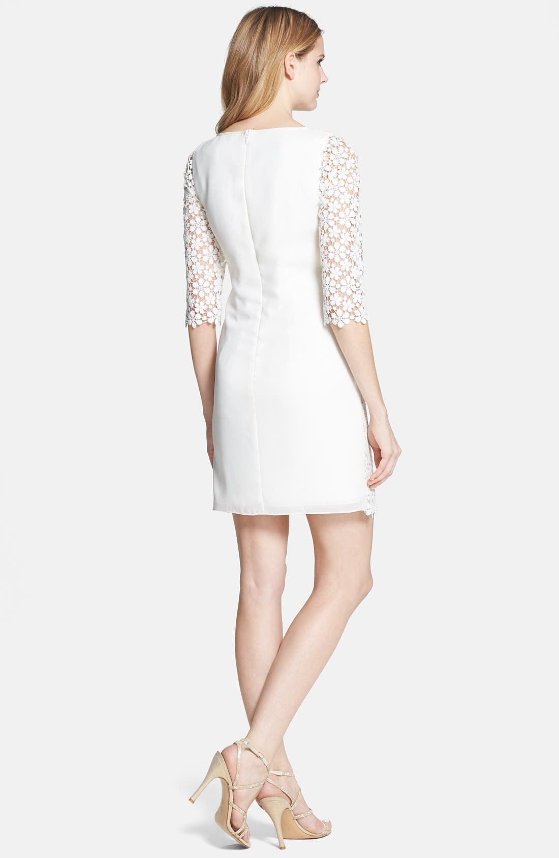 'Tibi' Daisy Guipure Lace Shift Dress,                             Alternate thumbnail 2, color,                             Ivory