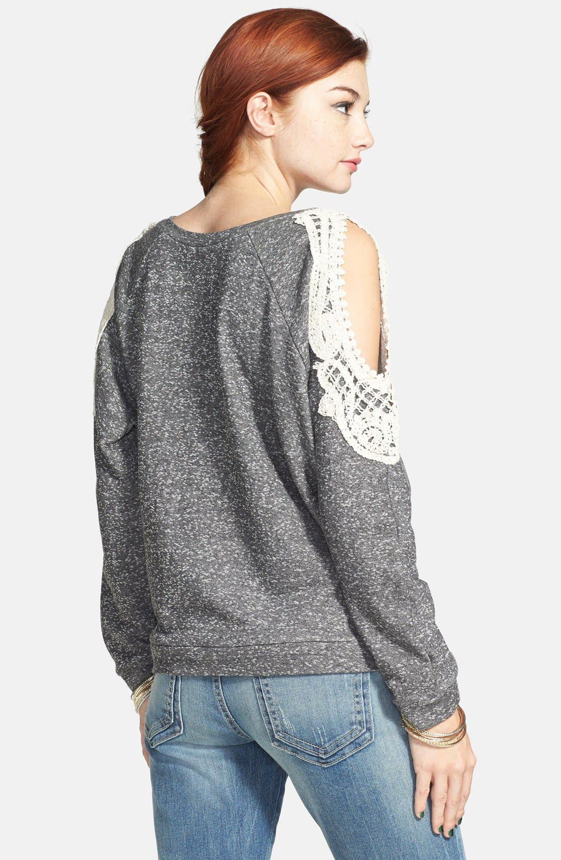 Alternate Image 2  - Haute Society Crochet Detail Cold Shoulder Sweatshirt (Juniors) (Online Only)