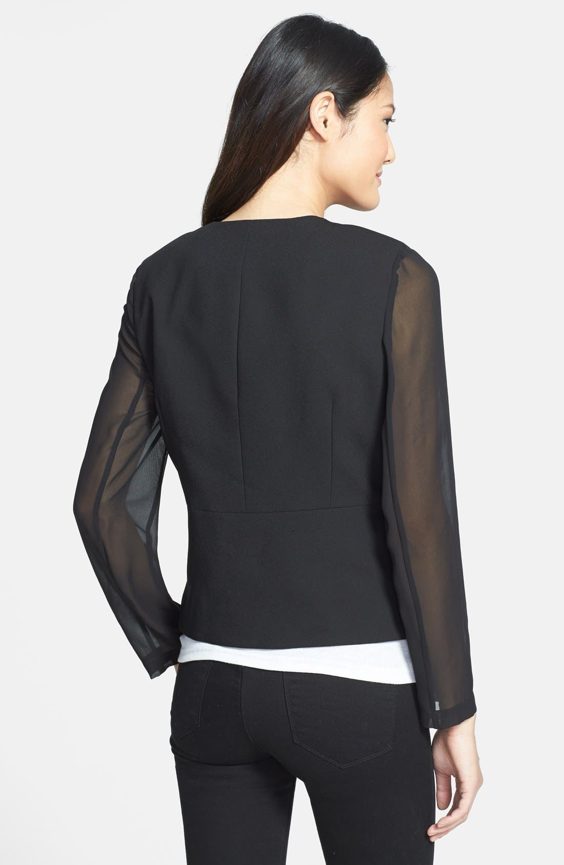 Angled Front Jacket,                             Alternate thumbnail 2, color,                             Rich Black