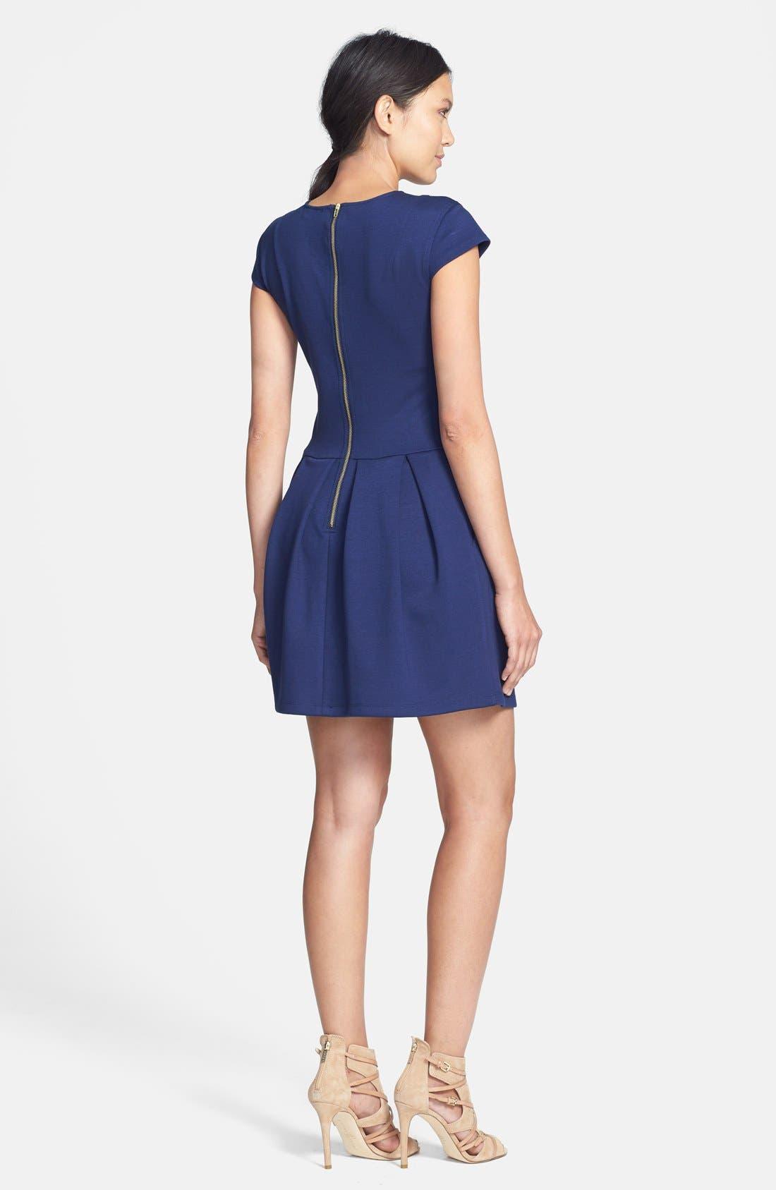 Alternate Image 3  - Black Swan Cap Sleeve Ponte Knit Fit & Flare Dress