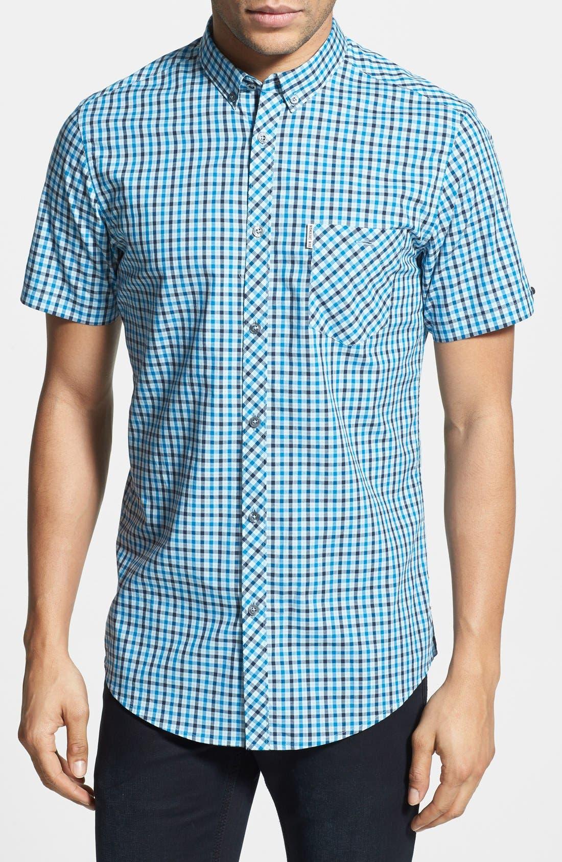 Check Woven Shirt,                             Main thumbnail 1, color,                             Porcelain Blue