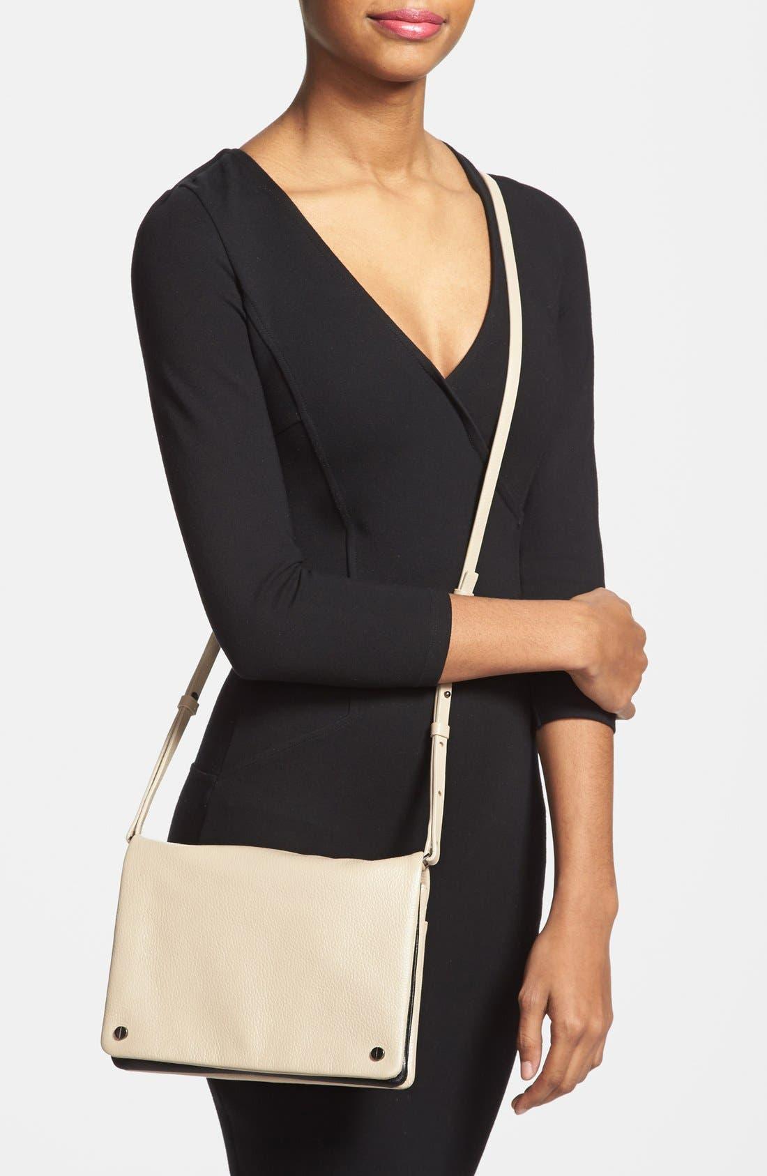 Alternate Image 2  - Halogen® Two-Tone Leather Crossbody Bag