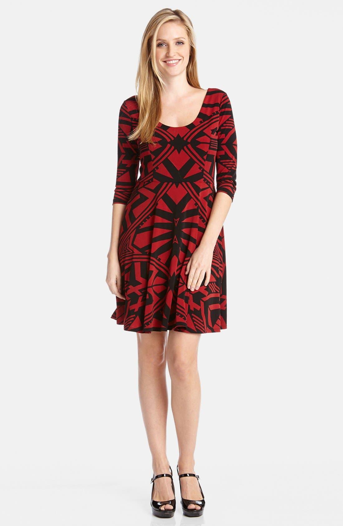 Alternate Image 1 Selected - Karen Kane 'Infrared Graphic' Fit & Flare Dress