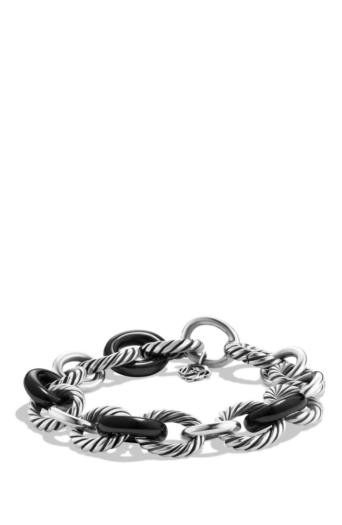 'Oval' Large Link Bracelet,                         Main,                         color, Ceramic Black