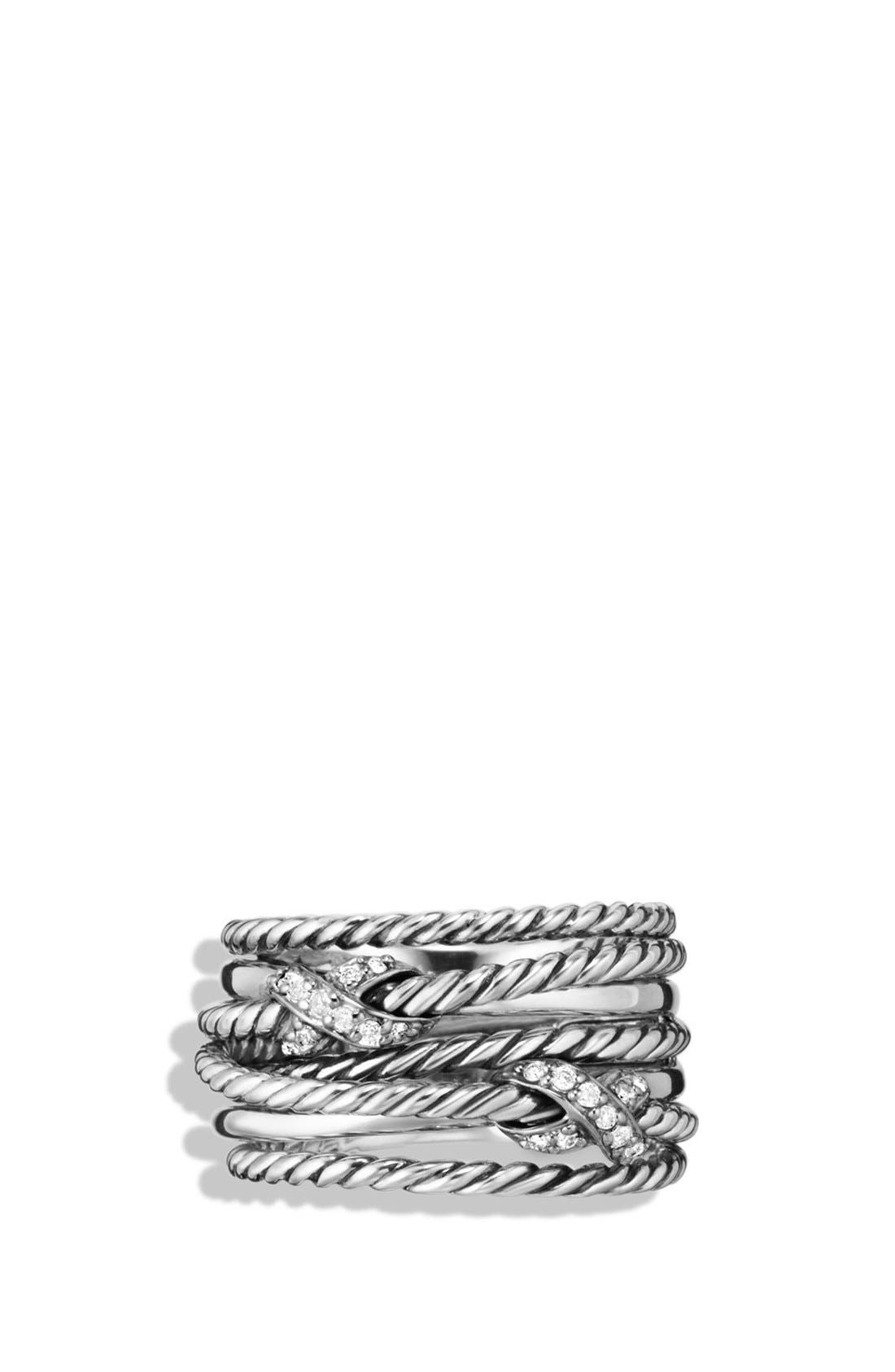 Alternate Image 3  - David Yurman Double 'X Crossover' Ring with Diamonds