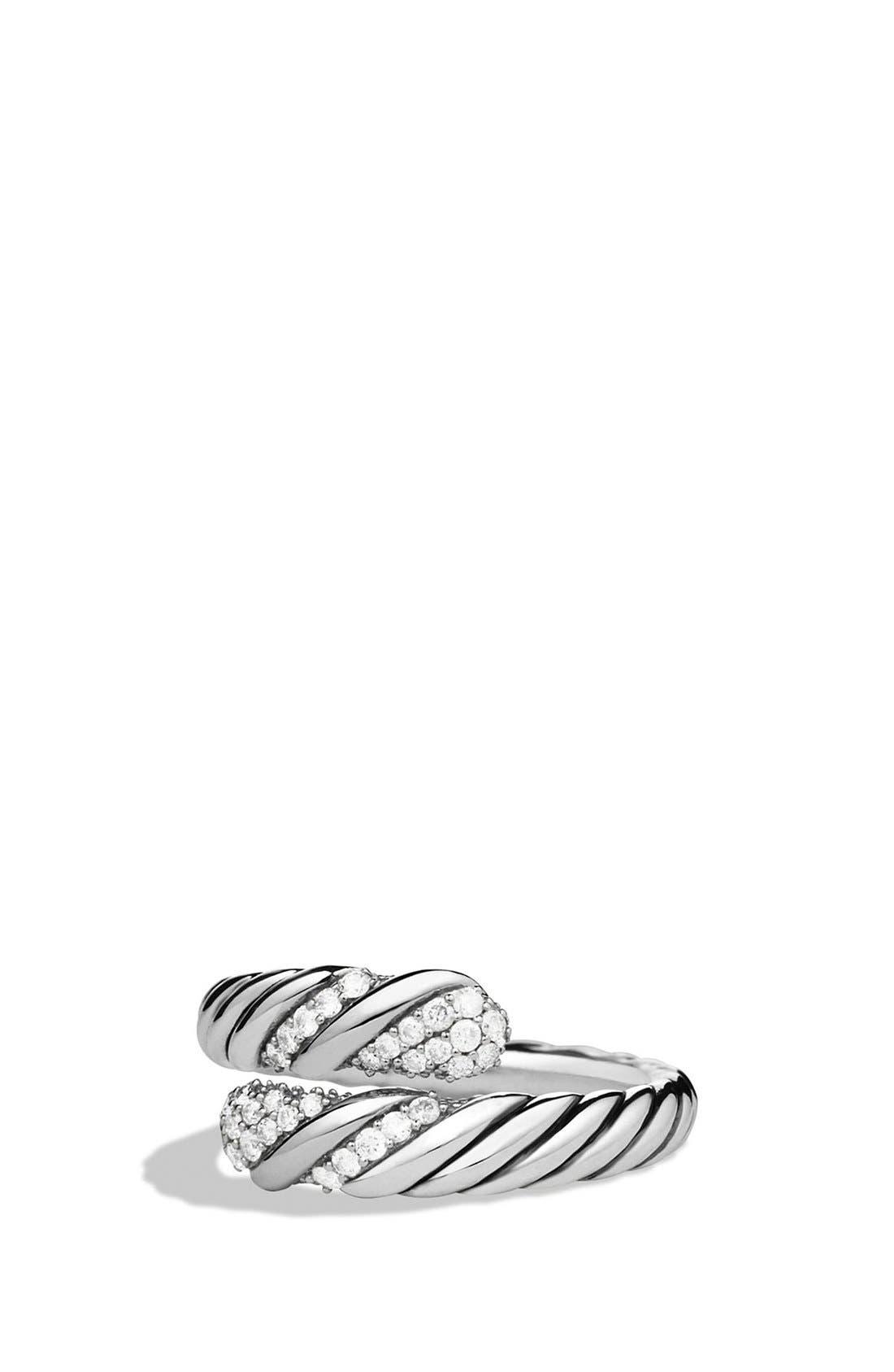 'Willow' Open Single Row Ring with Diamonds,                         Main,                         color, Diamond