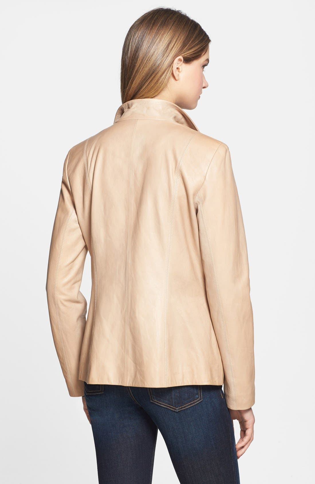 Alternate Image 2  - Cole Haan Zip Front Leather Jacket