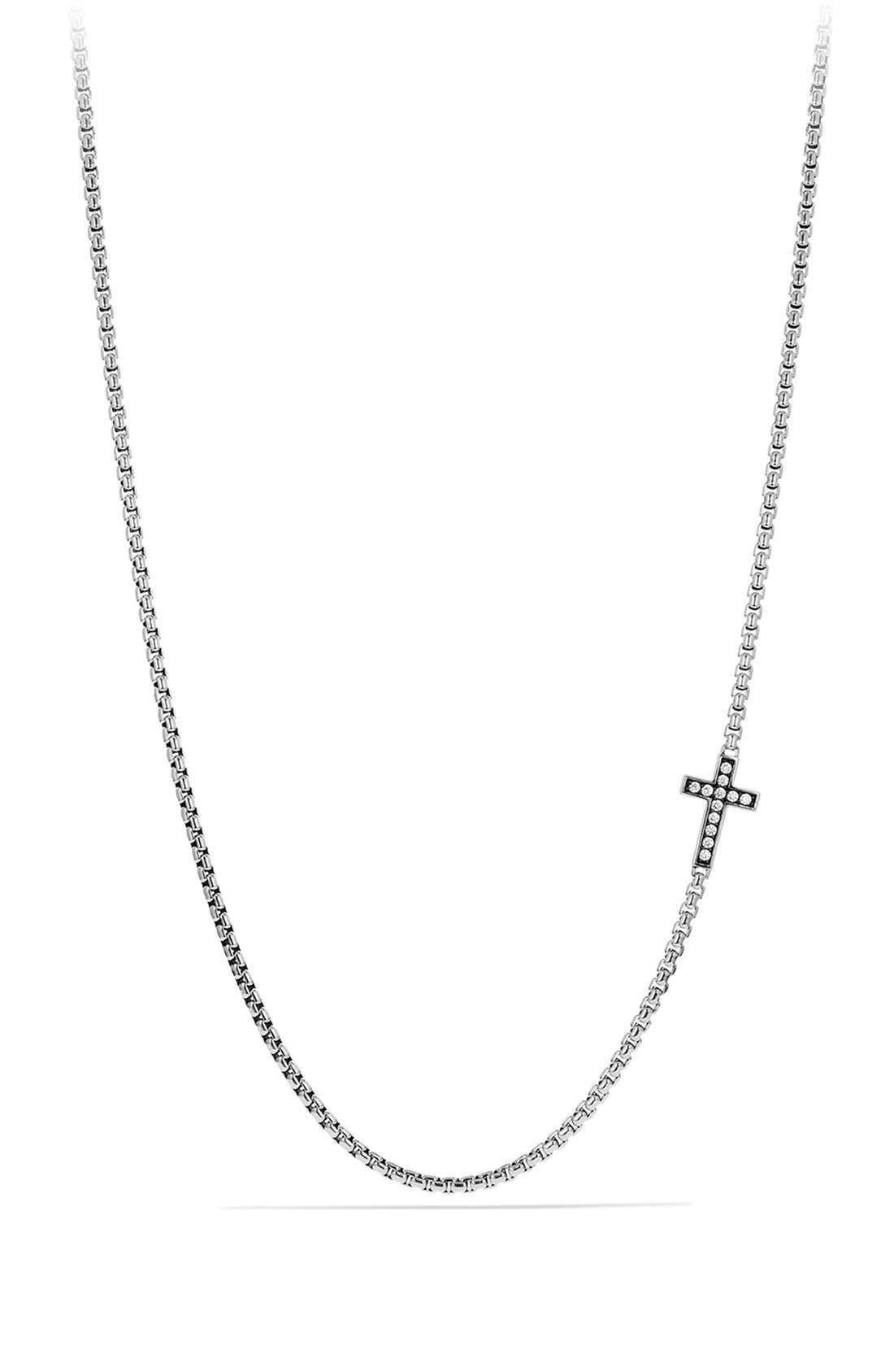 Main Image - David Yurman Pavé Cross Necklace with Diamonds