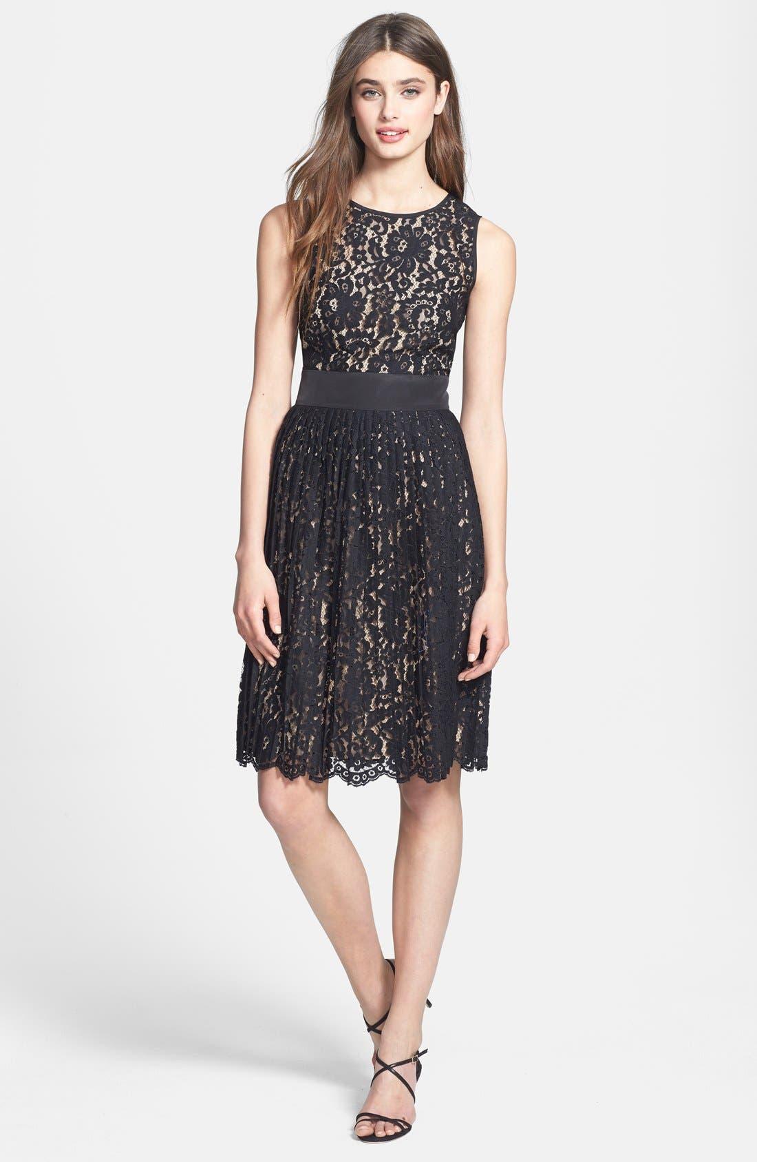 Alternate Image 2  - Eliza J Sleeveless Lace Fit & Flare Dress