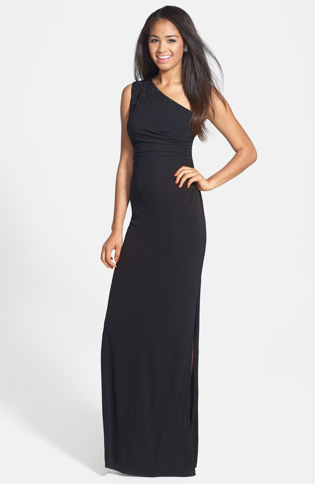 Main Image - Laundry by Shelli Segal Embellished One-Shoulder Jersey Gown