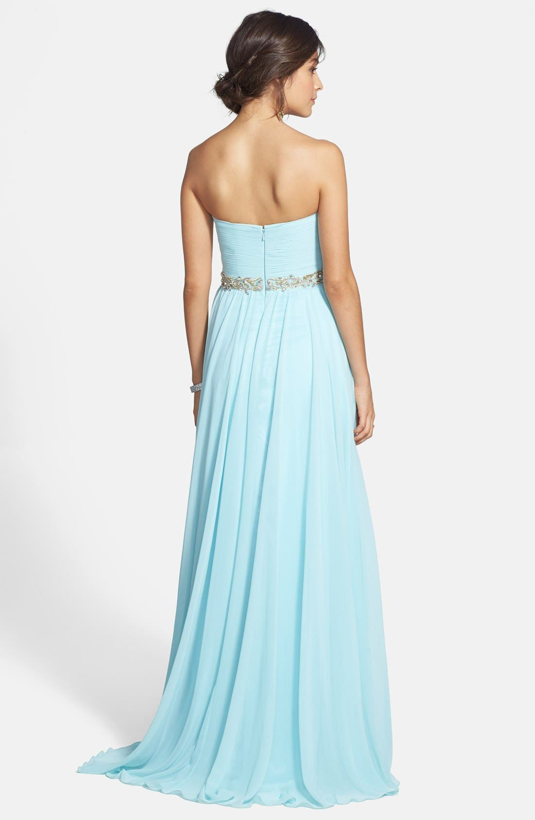 Alternate Image 2  - Sherri Hill Embellished Strapless Chiffon Gown