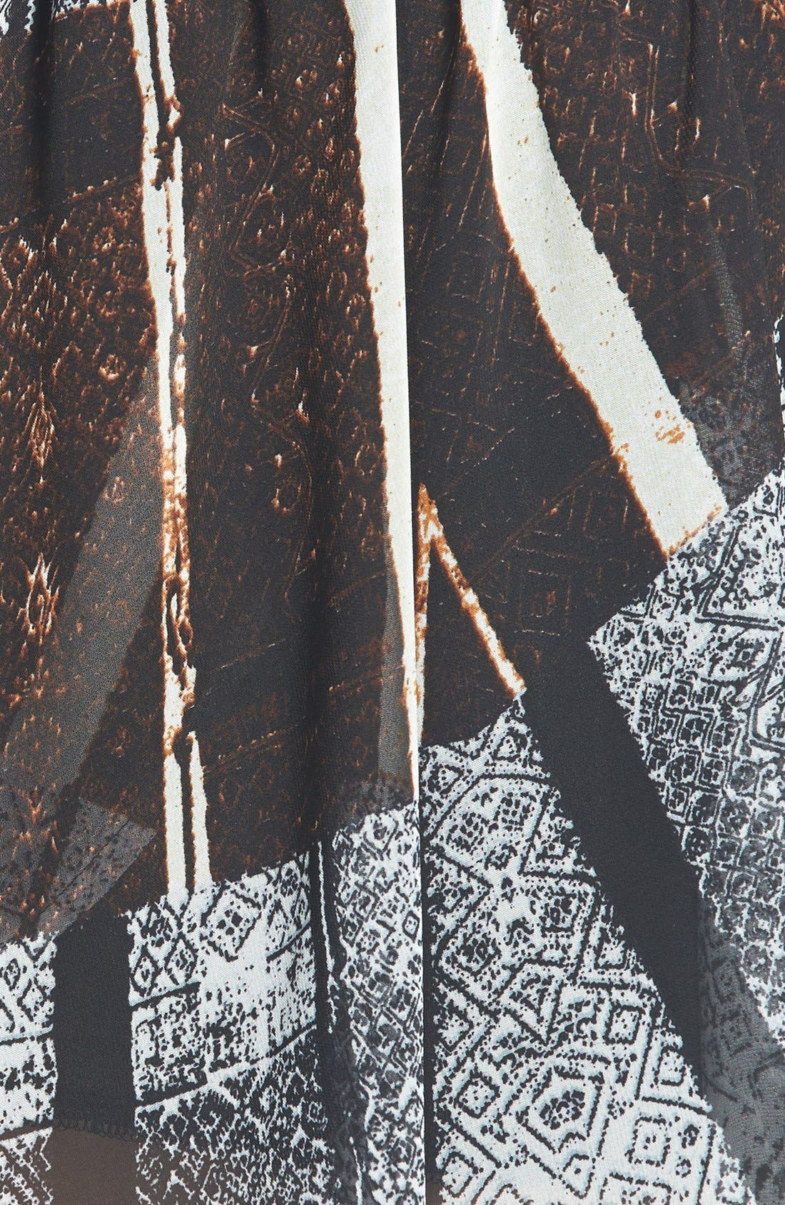ASTR Ruched Waist Chiffon Miniskirt,                             Alternate thumbnail 3, color,                             Black-Brown Multi
