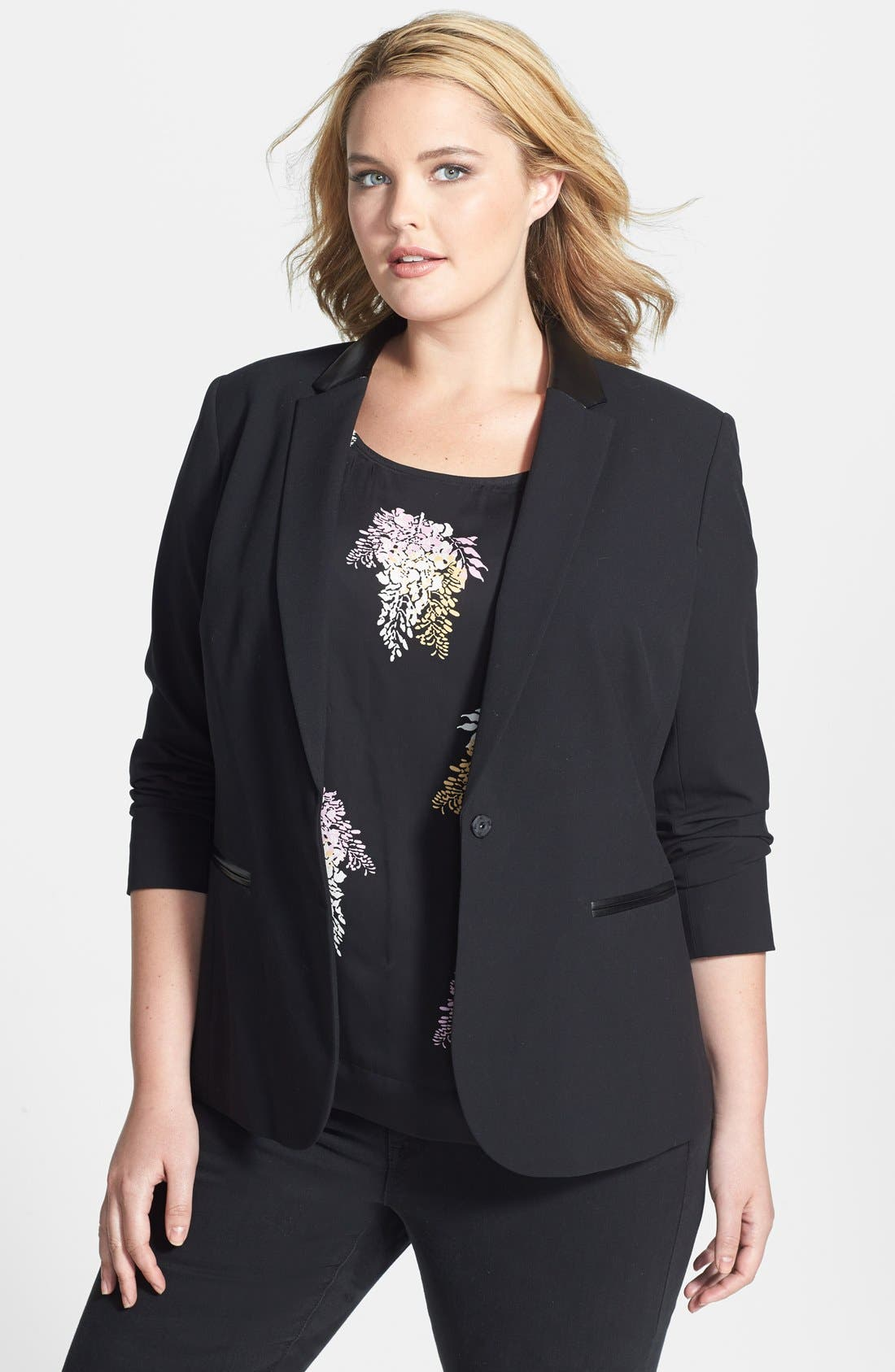 Alternate Image 1 Selected - DKNYC Faux Leather Trim Blazer (Plus Size)