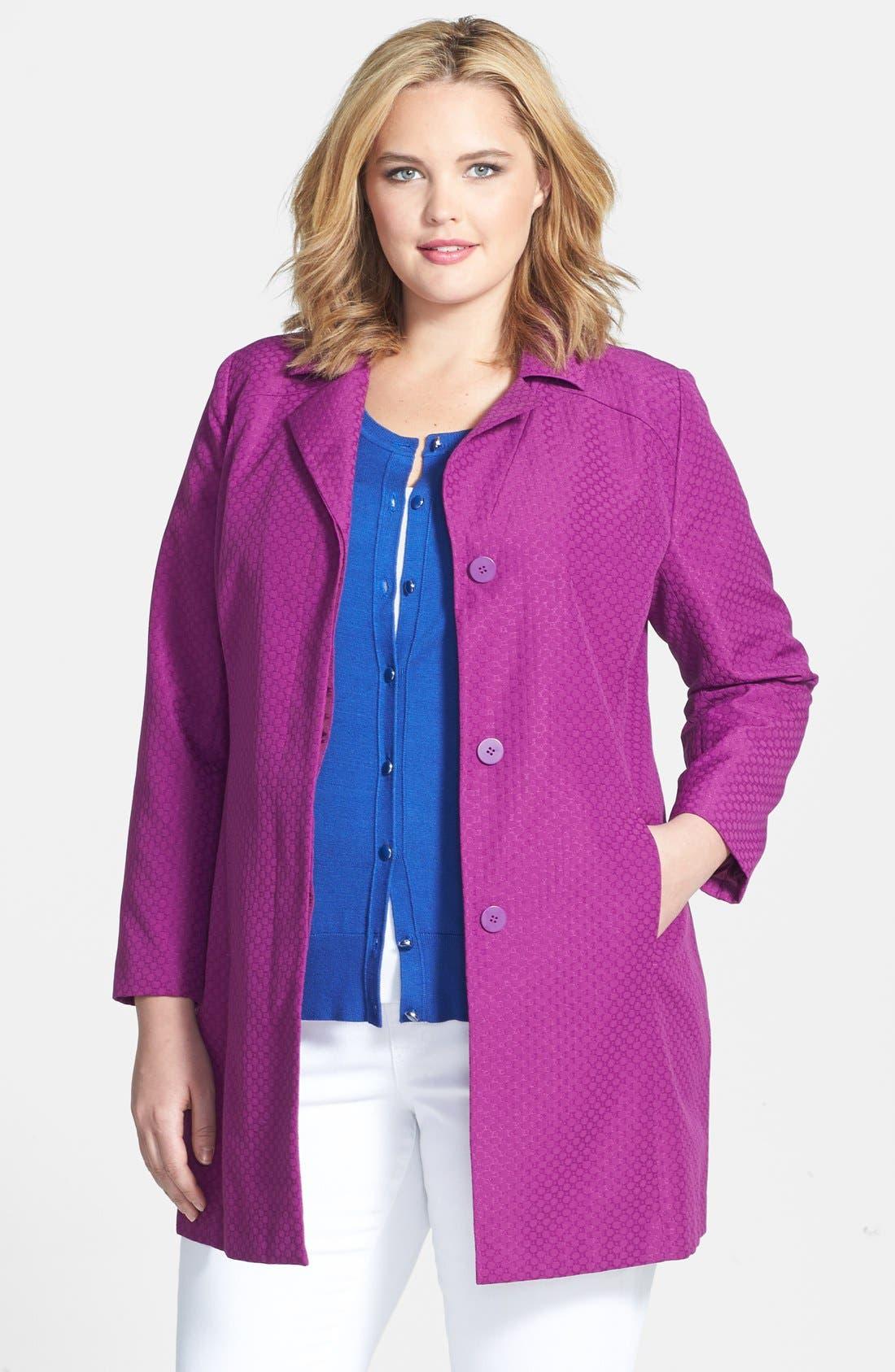 Main Image - Sejour Jacquard Topper Jacket (Plus Size)