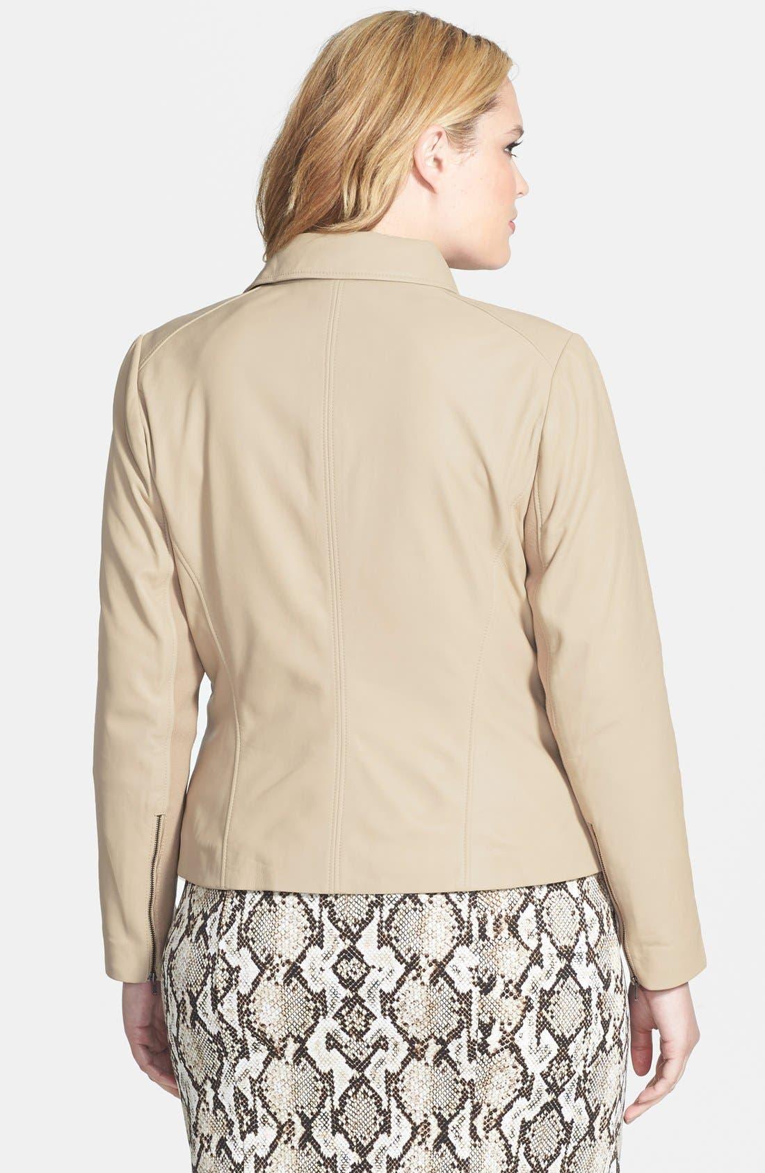 Alternate Image 2  - Halogen® 'Powder' Lambskin Leather Jacket (Plus Size)