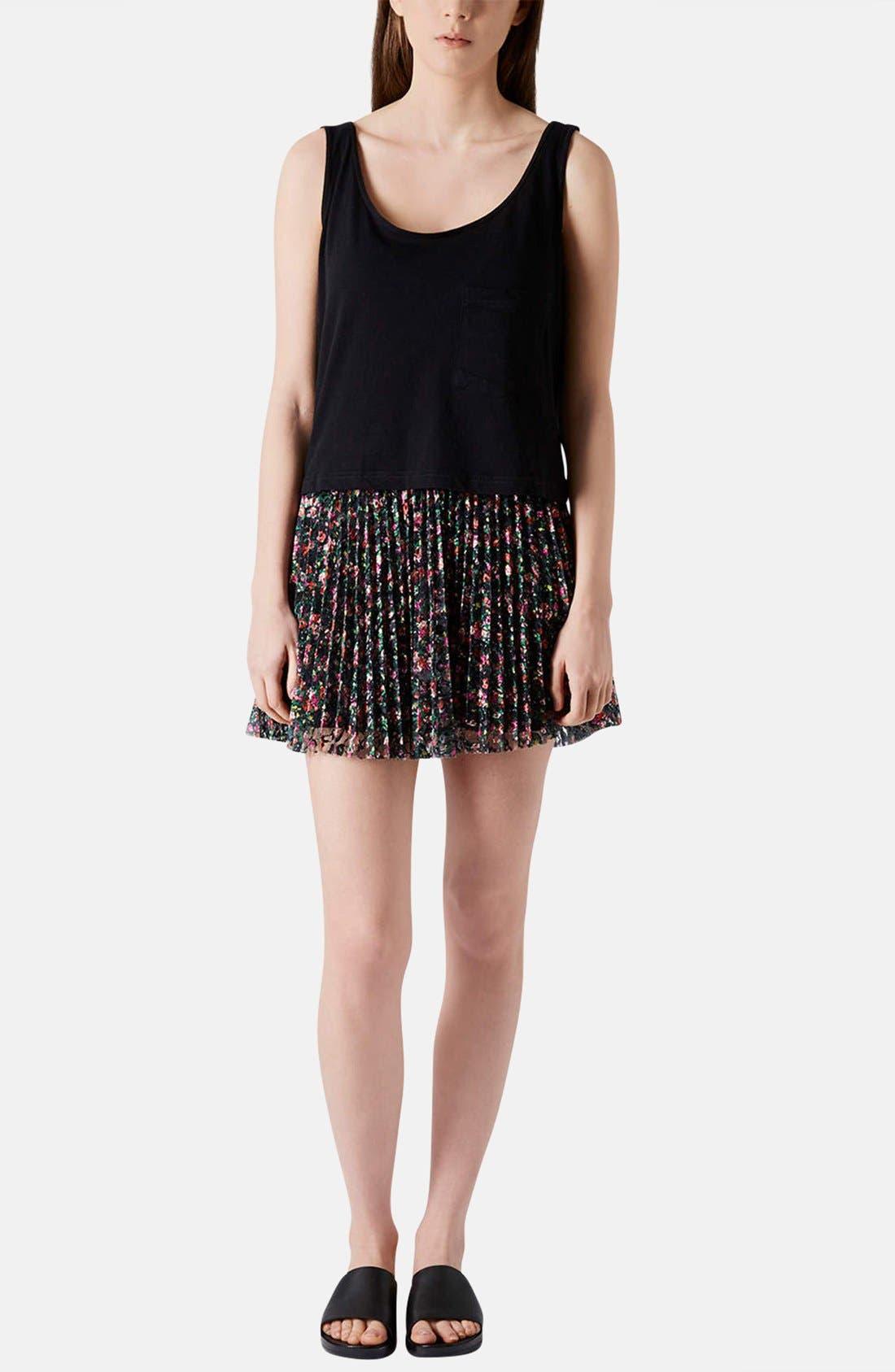 Alternate Image 5  - Topshop Floral Lace Pleat Miniskirt