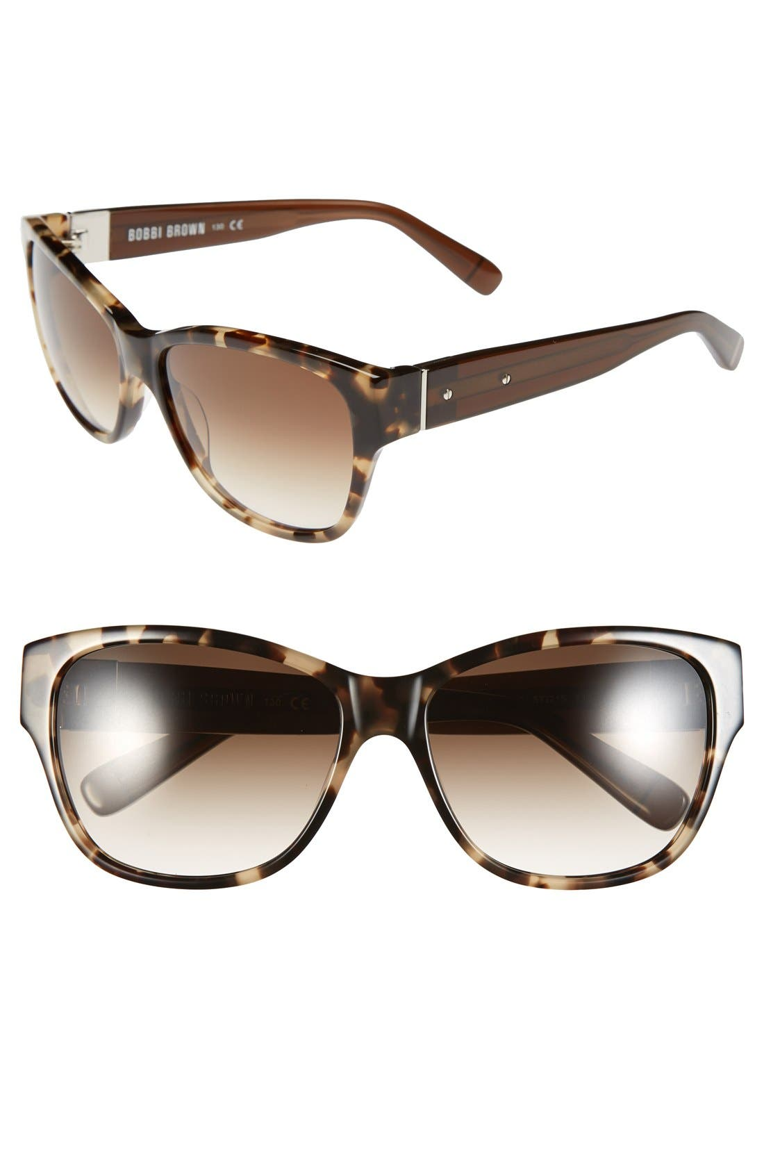 'The Veronika' 57mm Sunglasses,                         Main,                         color, Camel Tortosie