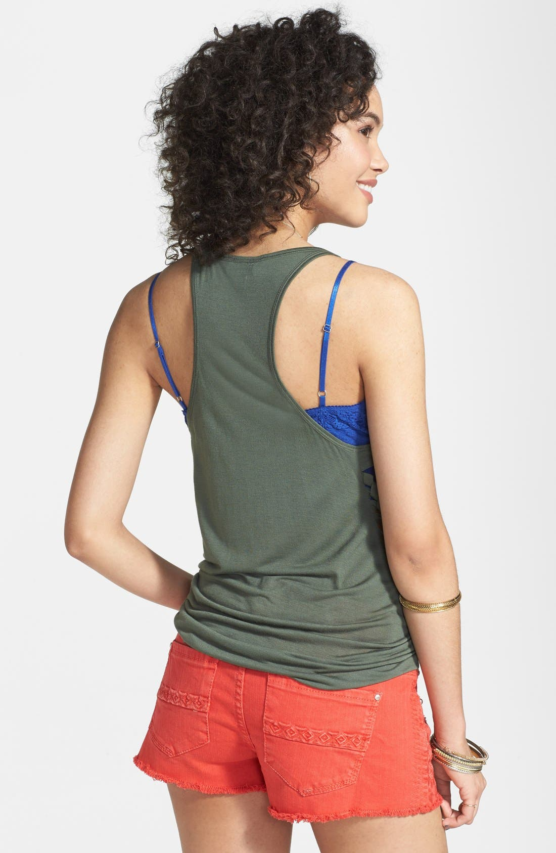 Alternate Image 2  - Rubbish® Lace Up Racerback Tank (Juniors)