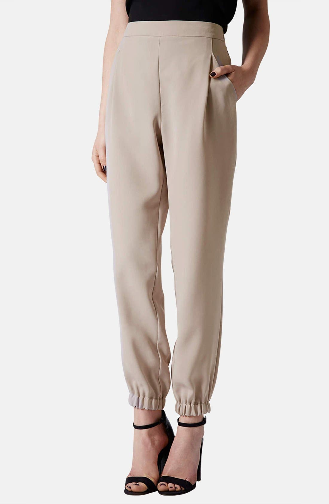 Tapered Crepe Track Pants,                             Main thumbnail 1, color,                             Taupe