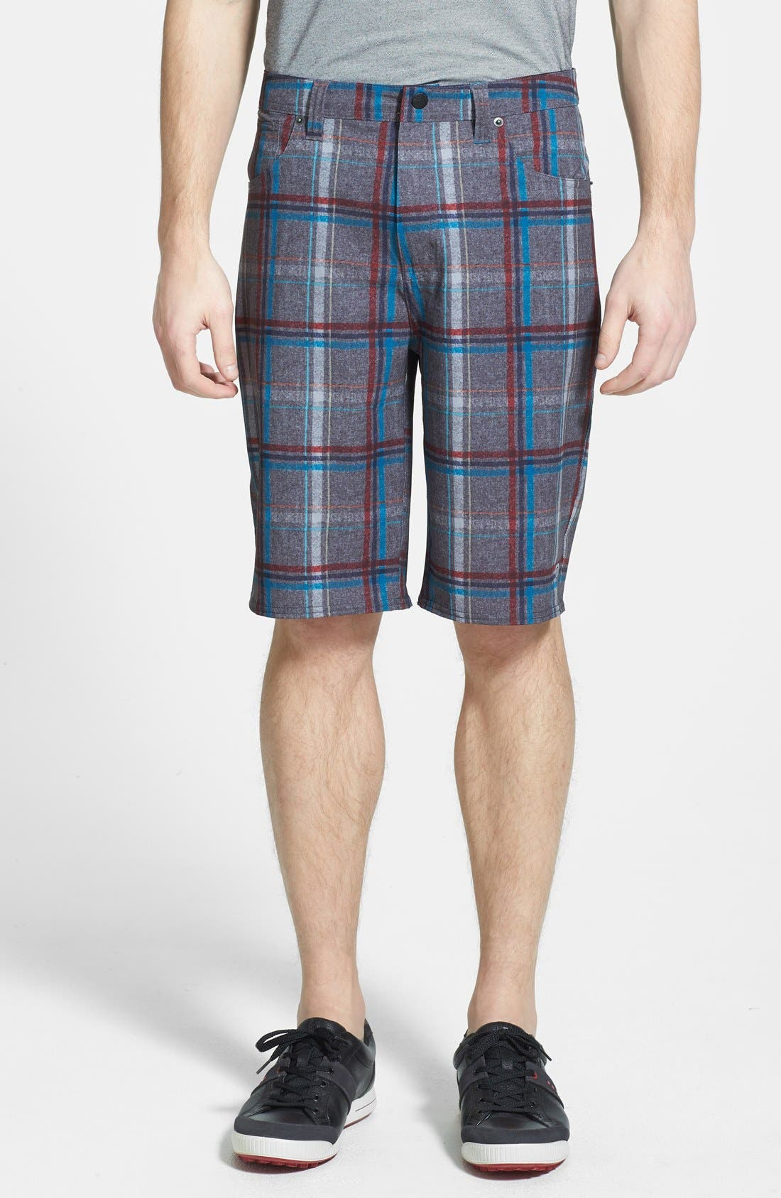 'Marsh' Performance Stretch Shorts,                             Main thumbnail 1, color,                             Grey/ Red/ Blue Plaid