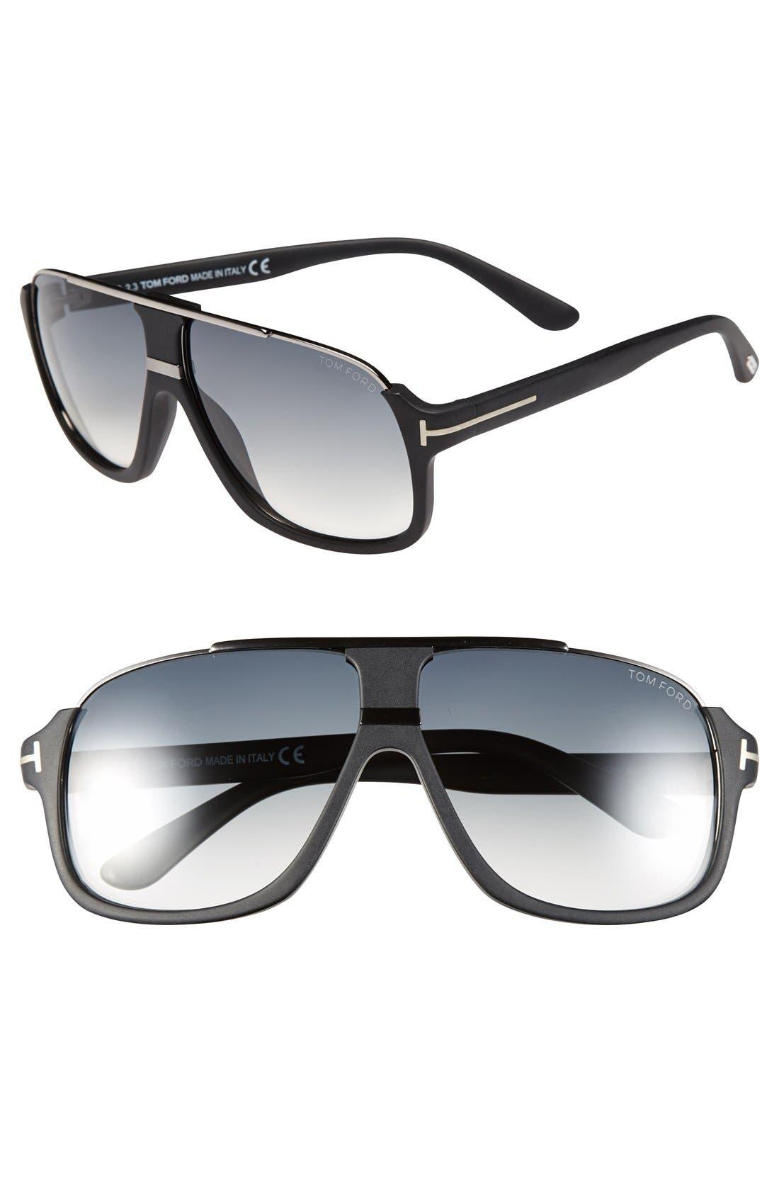 'Eliot' 60mm Sunglasses,                         Main,                         color, Shiny Black/ Havana Temples