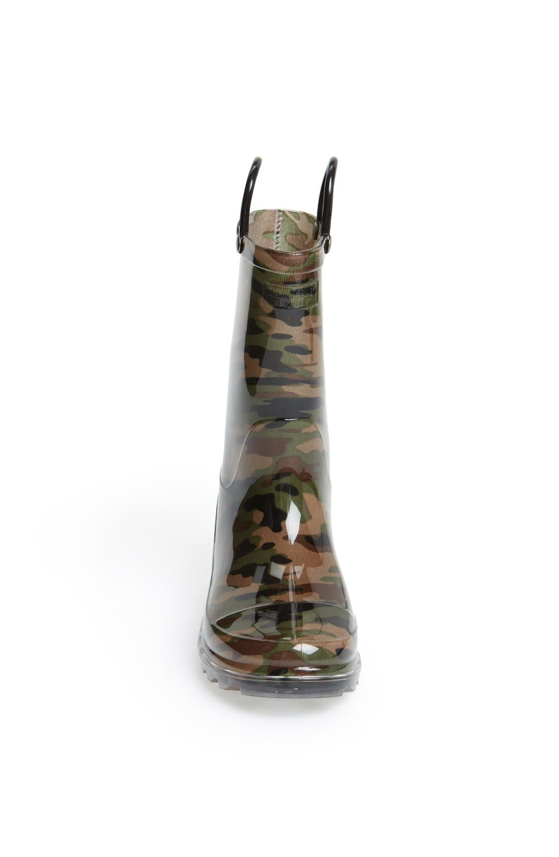 'Camo' Light-Up Rain Boot,                             Alternate thumbnail 3, color,                             Green