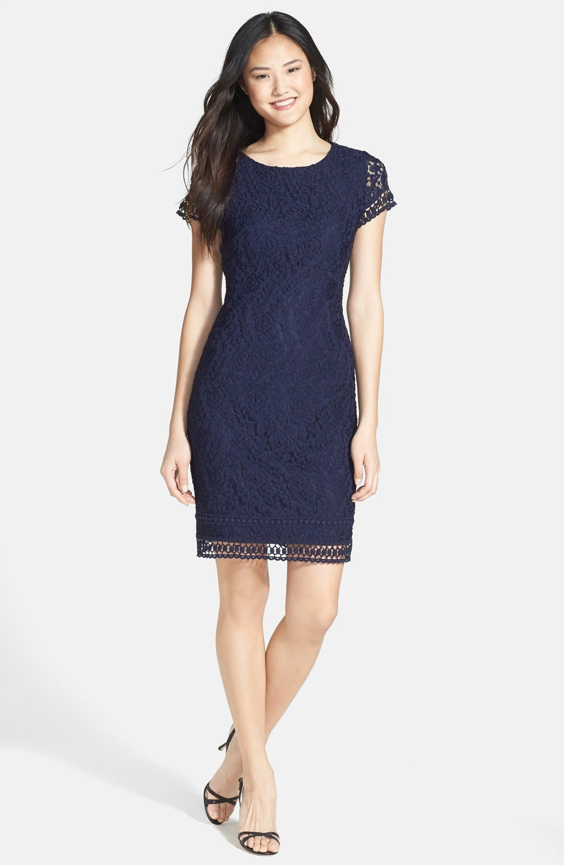 Main Image - Laundry by Shelli Segal Lace Sheath Dress (Petite)