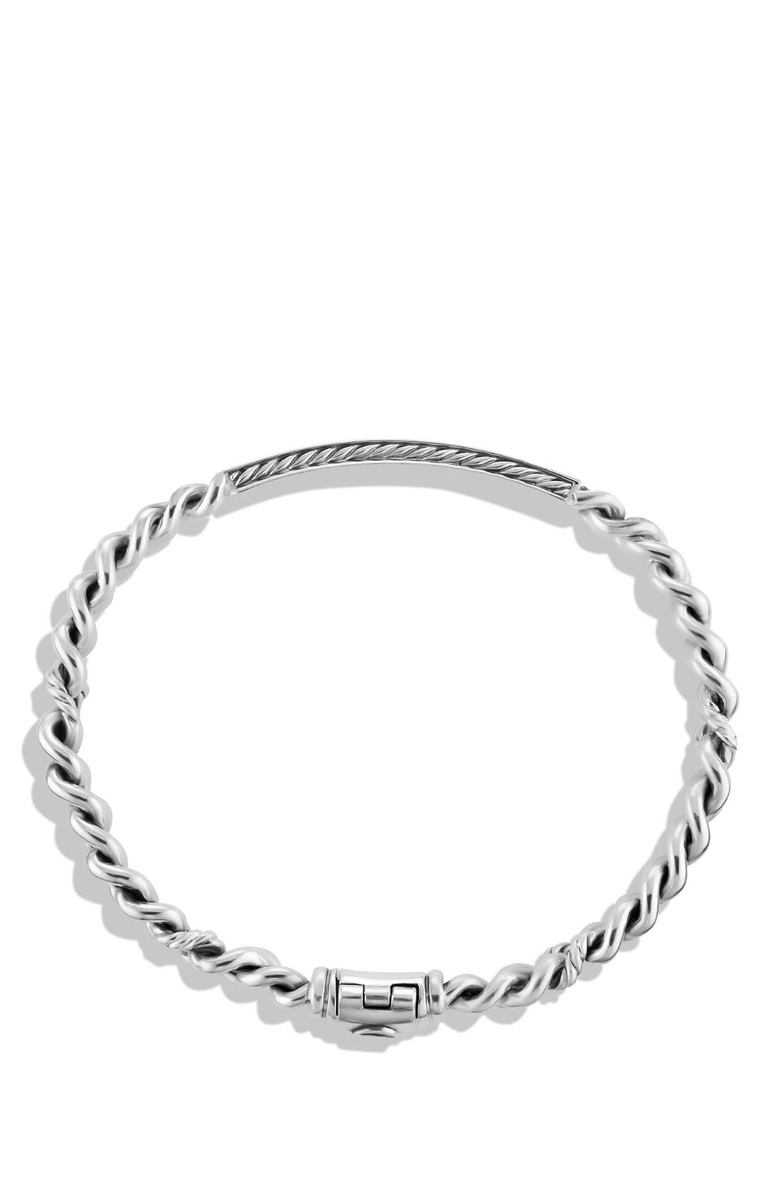 'Petite Pavé' Curb Link ID Bracelet with Diamonds,                             Alternate thumbnail 2, color,                             Diamond/ Silver