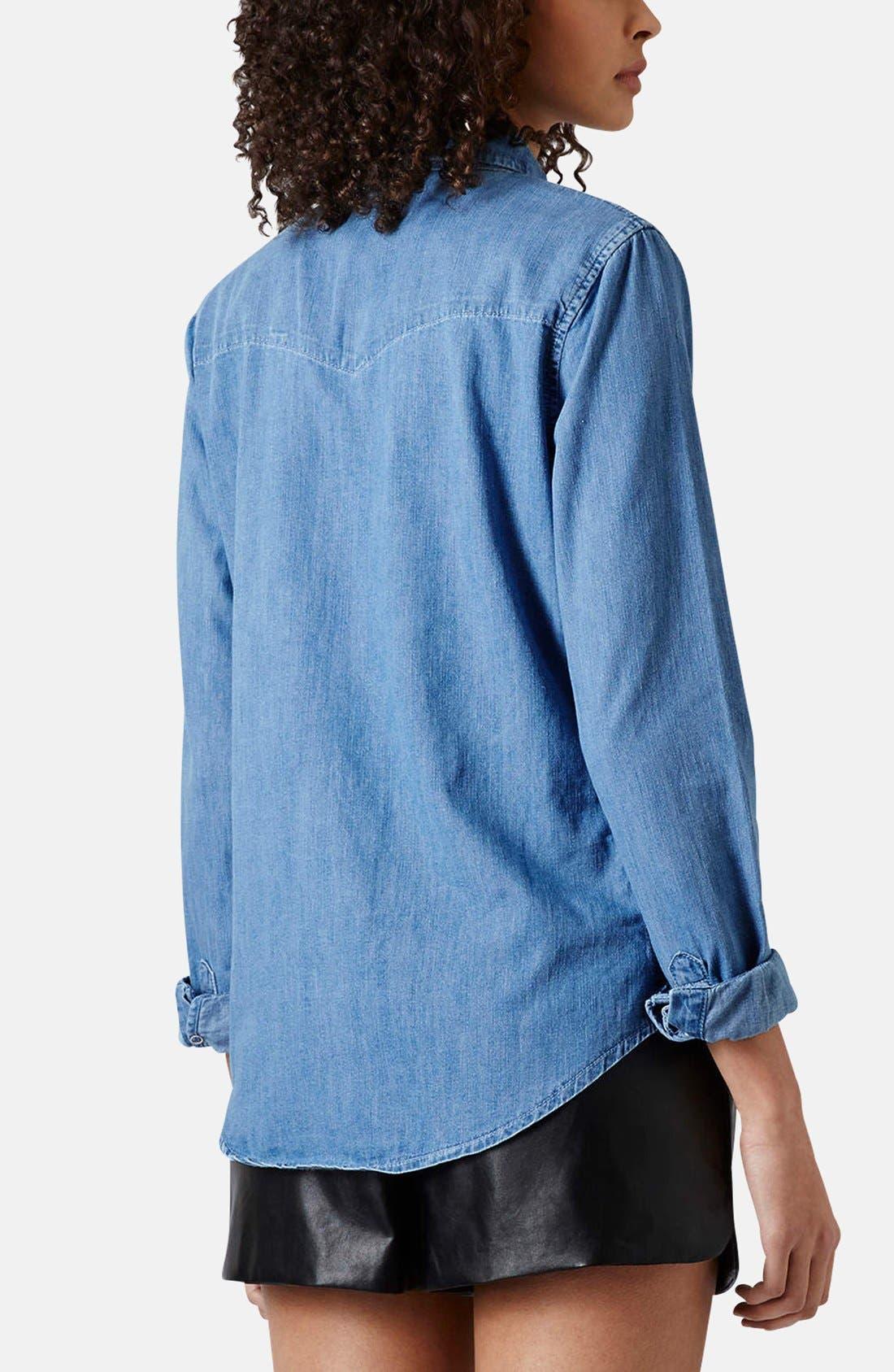 Alternate Image 2  - Topshop Moto Fitted Western Denim Shirt