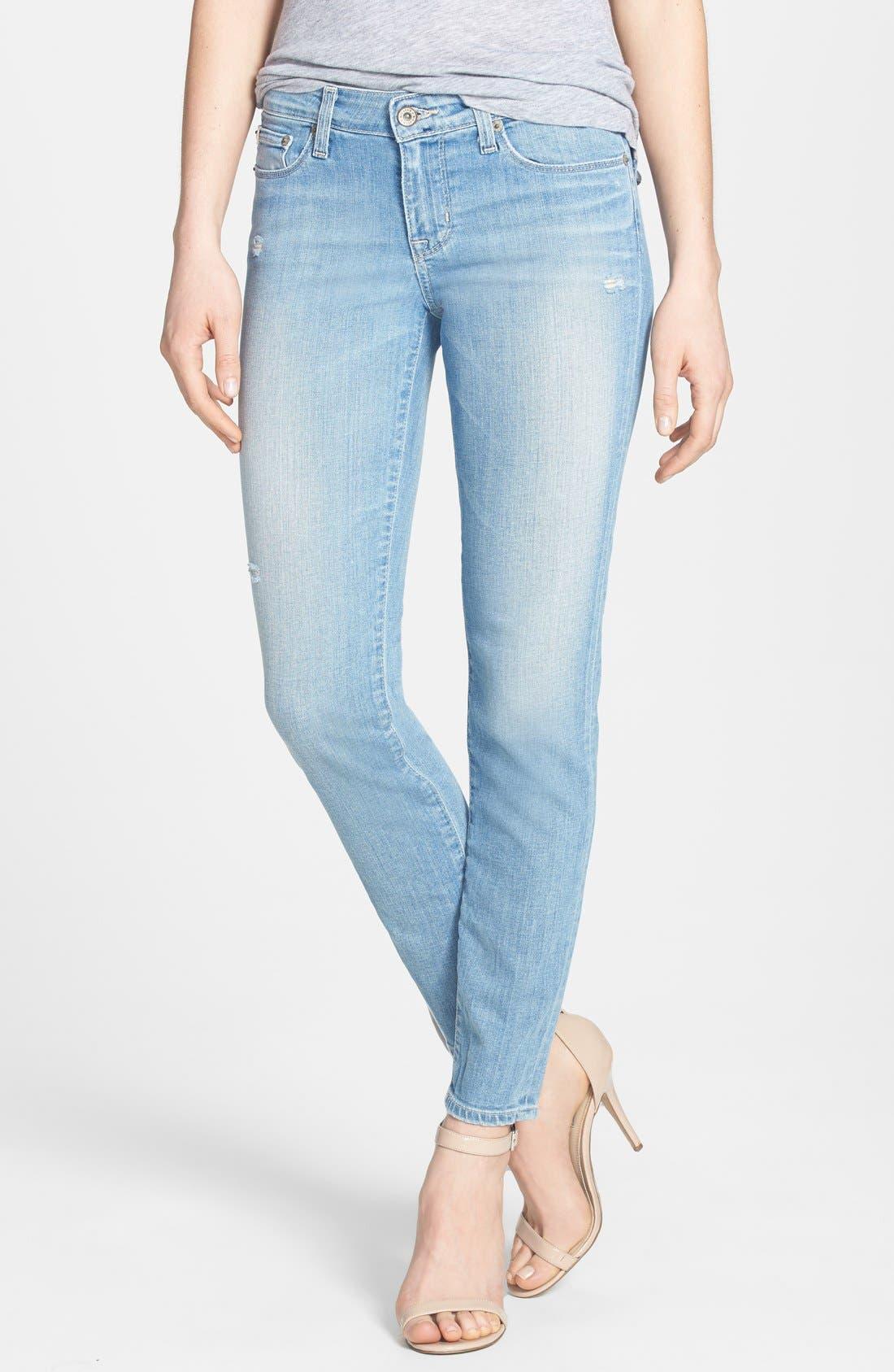 Main Image - Big Star 'Alex' Distressed Stretch Skinny Jeans (20-Year Harbor) (Petite)