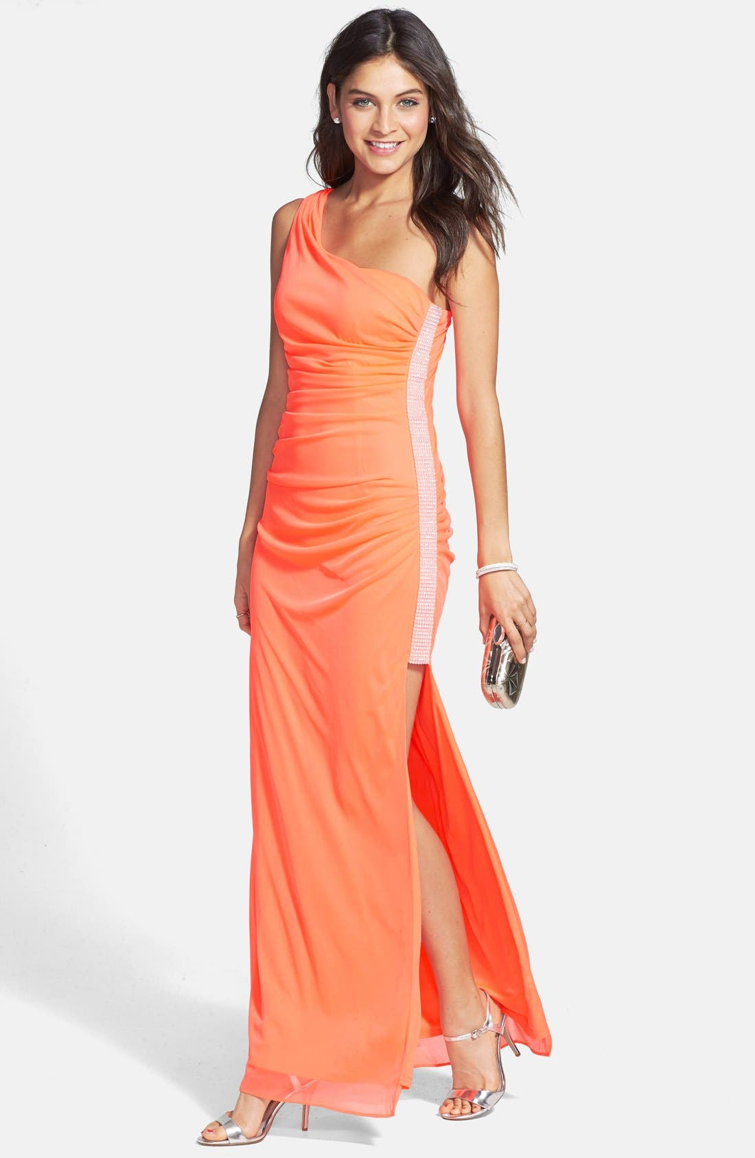 Main Image - Hailey Logan Neon One-Shoulder Mesh Gown (Juniors) (Online Only)