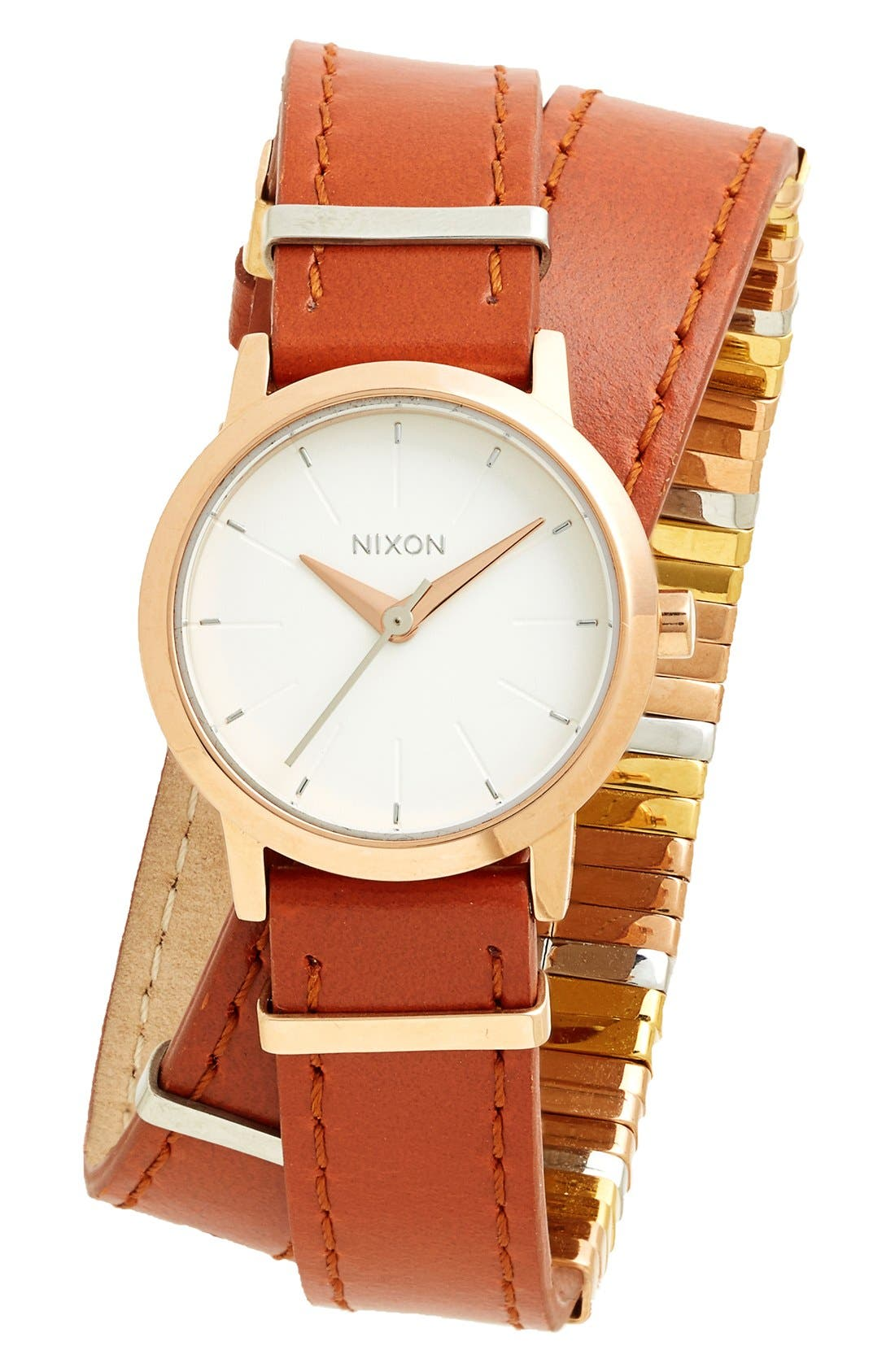 Main Image - Nixon 'The Kenzi' Metal Detail Wrap Leather Strap Watch, 26mm