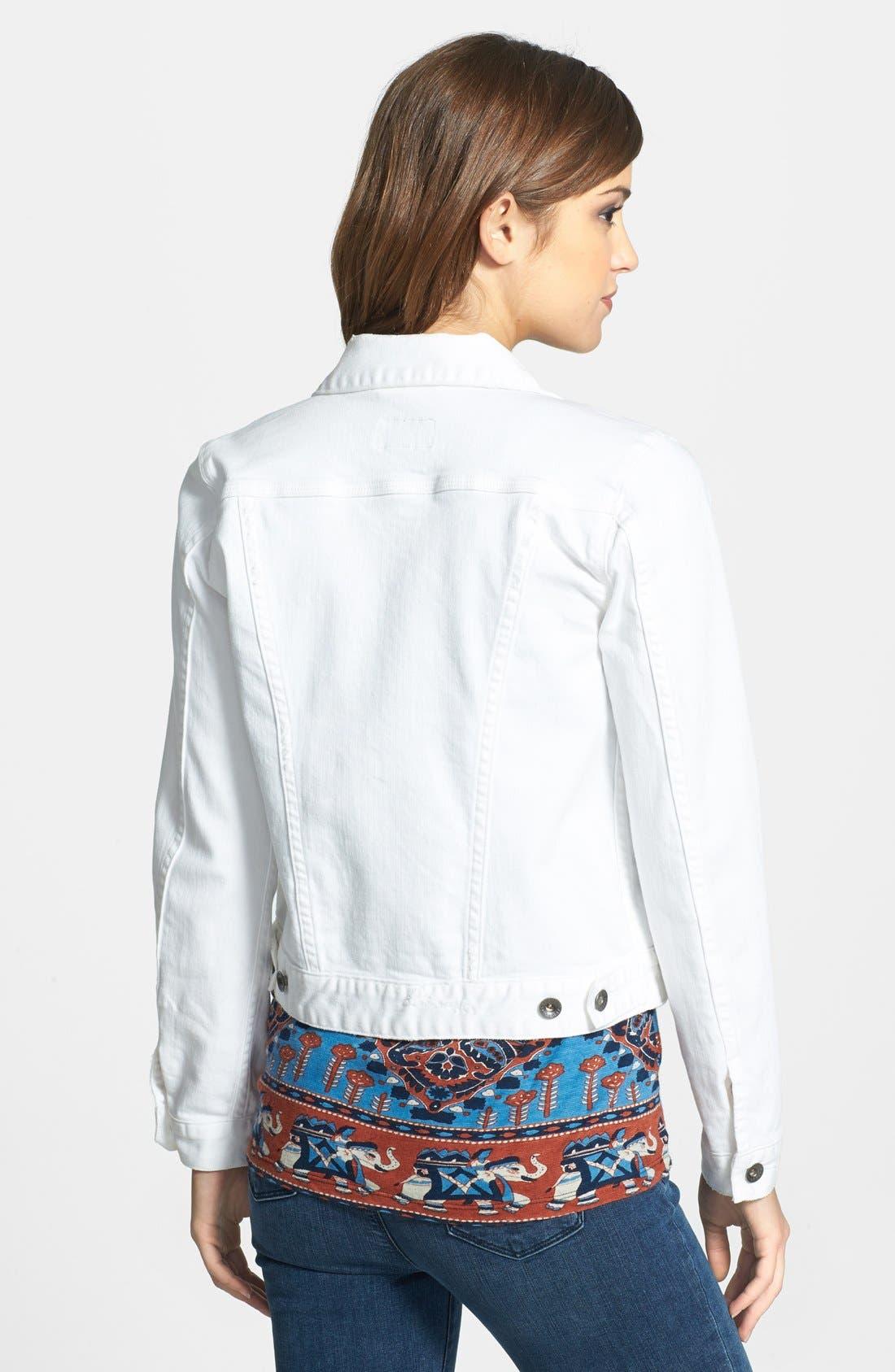 'Dixie' White Denim Jacket,                             Alternate thumbnail 2, color,                             Alabaster