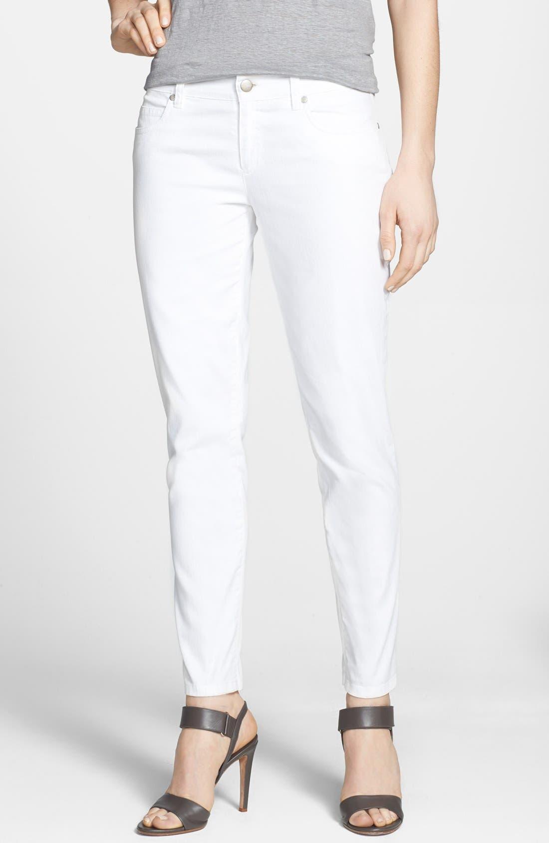 Alternate Image 1 Selected - Eileen Fisher Stretch Denim Ankle Skinny Jeans (White) (Regular & Petite)